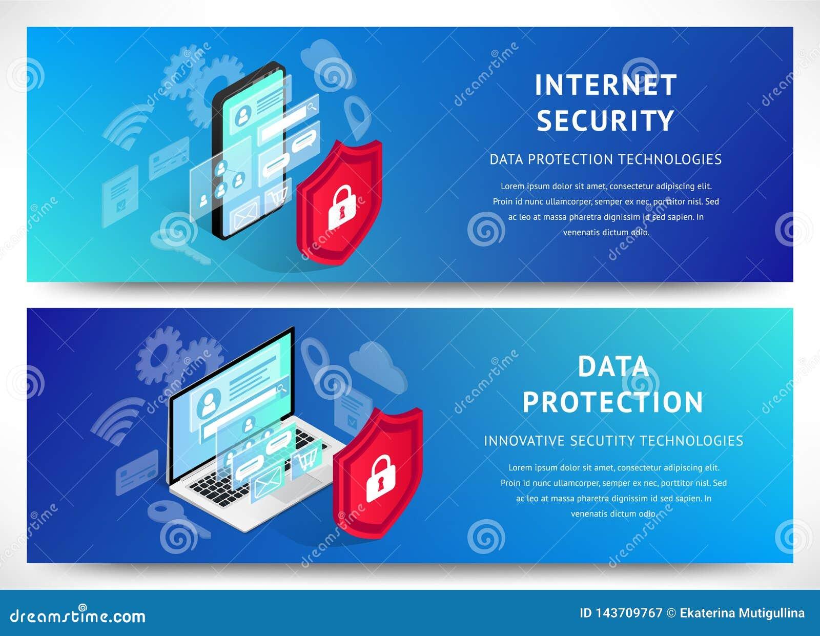 Isometrische Internet-de banners horizontale reeks van veiligheidssmartphone