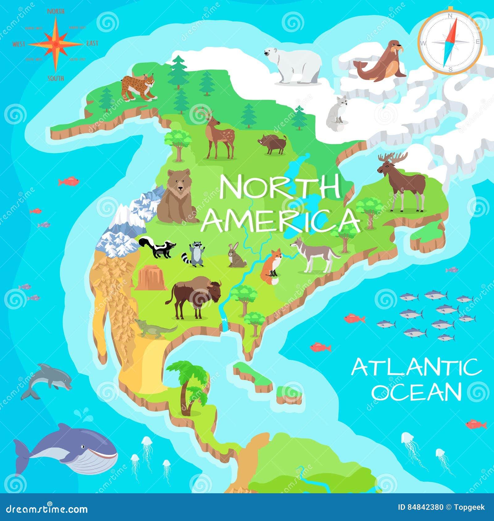 Karte Nordamerikas.Isometrische Karte Nordamerikas Mit Flora Und Fauna Vektor Abbildung