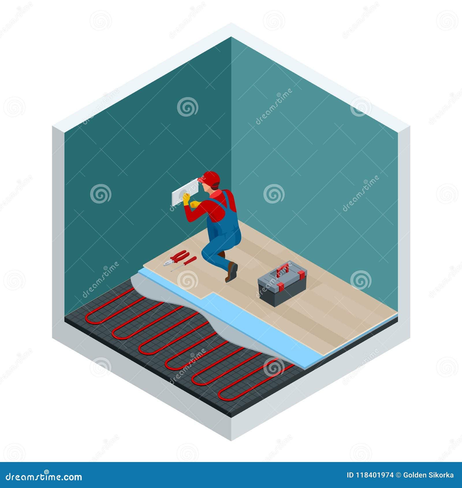 Isometrische lagen van infrarood vloer verwarmingssysteem onder gelamineerd vloerconcept Het Isometrische Malplaatje van de huisr