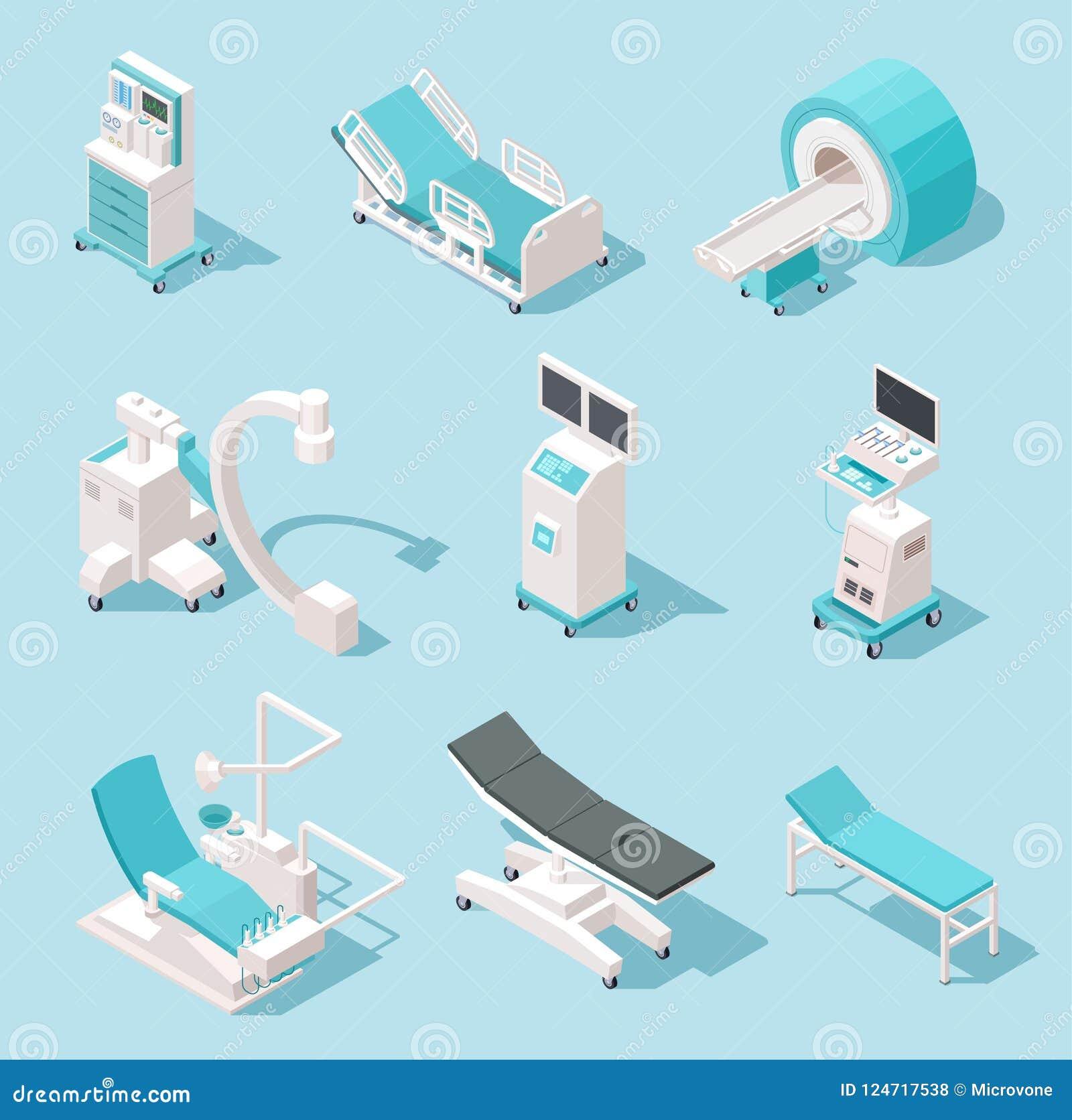 Isometrische medische apparatuur Het ziekenhuis kenmerkende hulpmiddelen 3d de machines vectorreeks van de gezondheidszorgtechnol