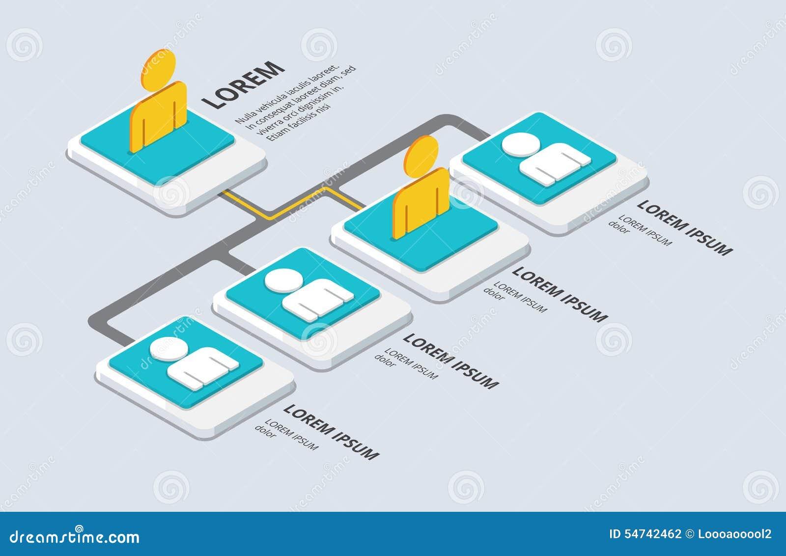 Isometrische organisatie en sturcture vlak 3d organisatie pop-u