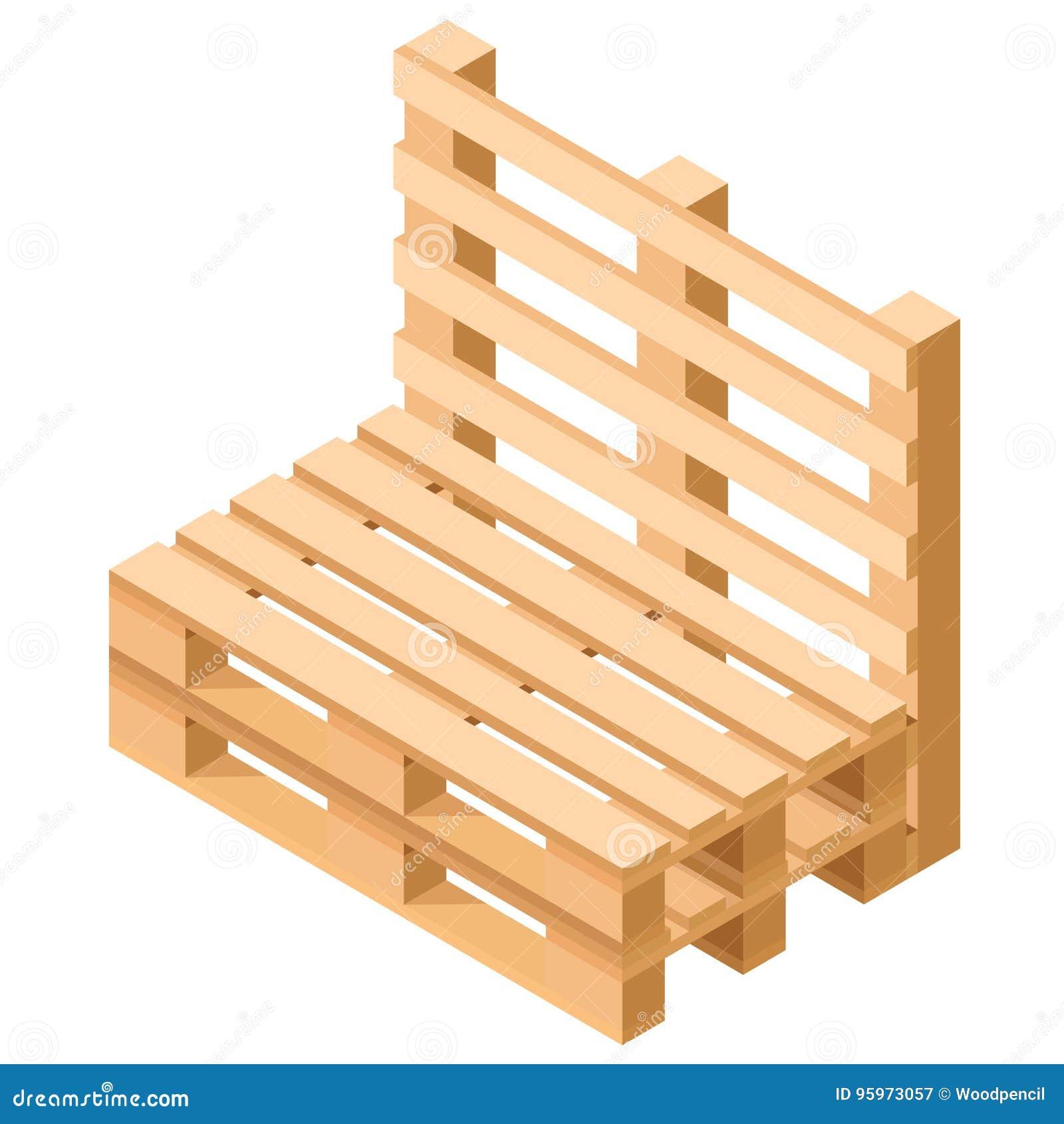 Isometrische Palettenmöbel Stuhl Errichtet Von Den Paletten ...