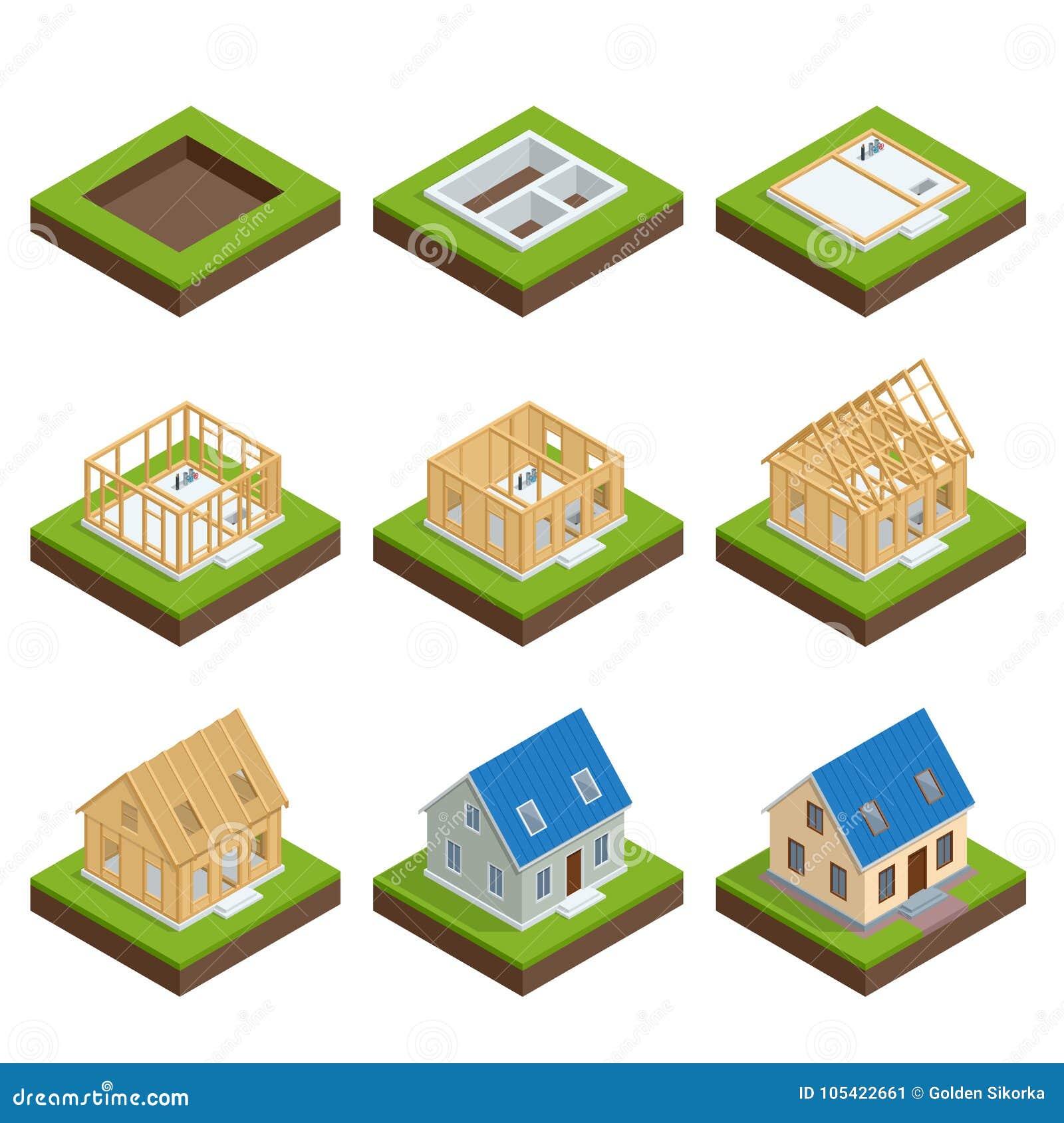 Isometrische reeks stage by stage bouw van een blokhuis Woningbouwproces Stichting het gieten, bouw