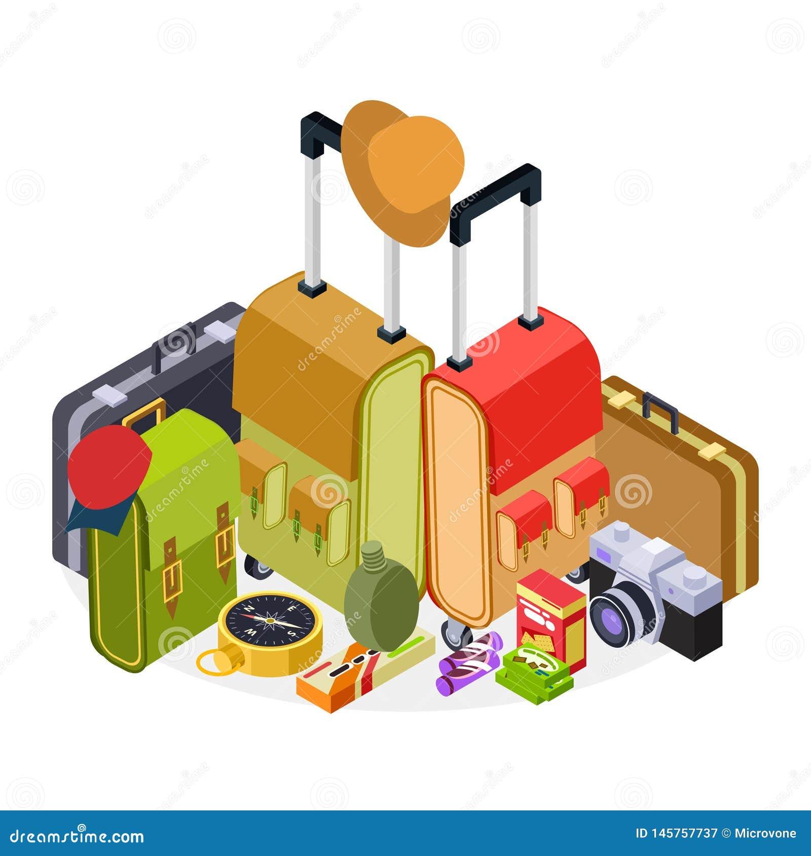 Isometrische reis vectorillustratie Bagage, koffers, rugzak en stijging accessorises