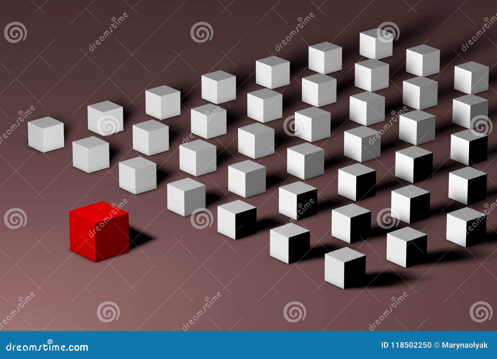 Isometrische rode unieke kubus voor vele witte degenen Leiding, uniciteit, individualiteit, eenzaamheid, verschil en
