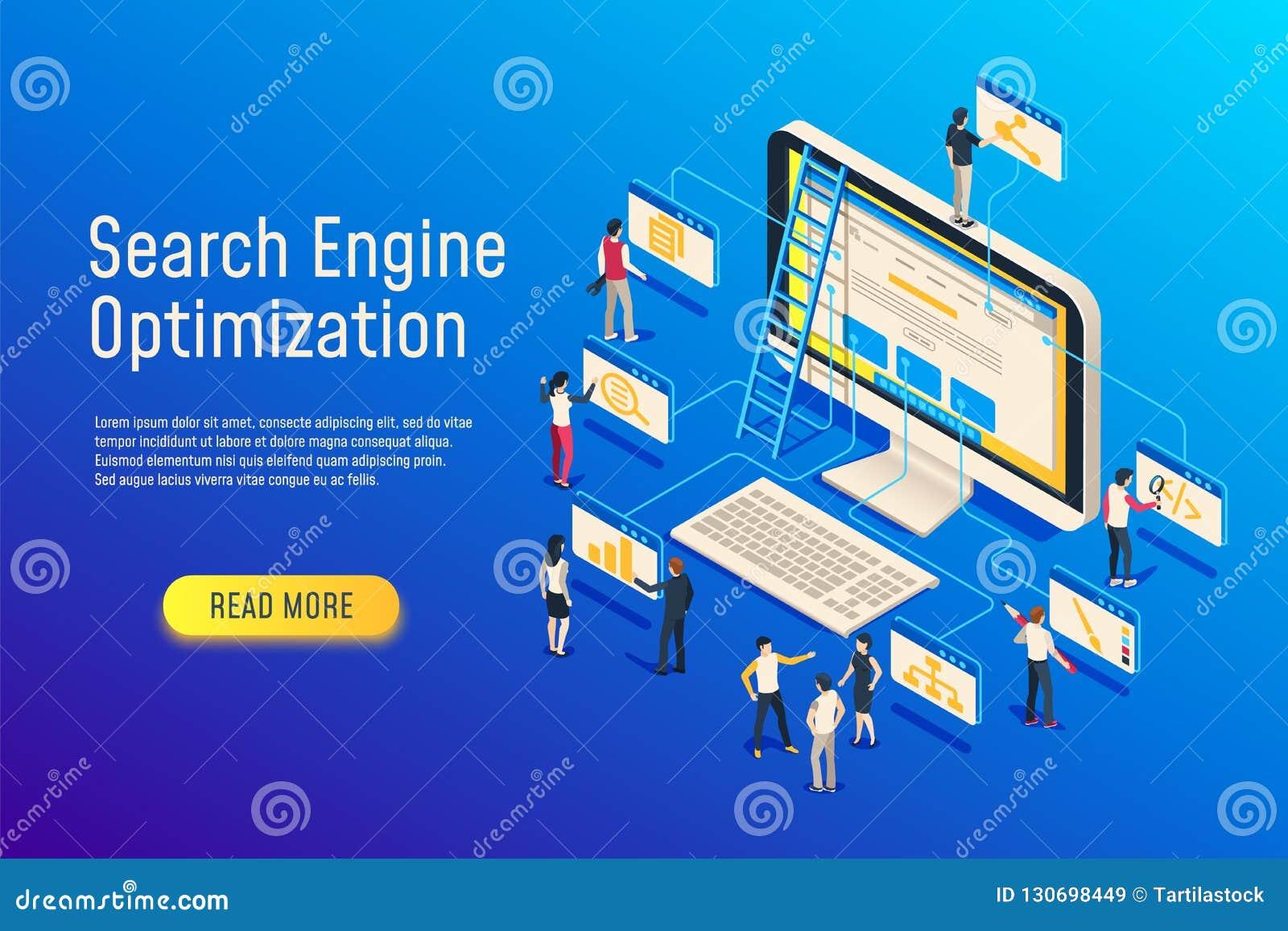 Isometrische seooptimalisering De computer van het websiteteam het optimaliseren 3d seowebsite optimaliseert vectorillustratie