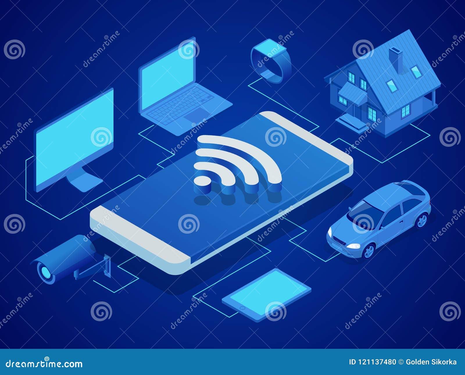Isometrische slimme technologie om het huis, computer, slim horloge, machine, videotoezicht, tablet te controleren veiligheid