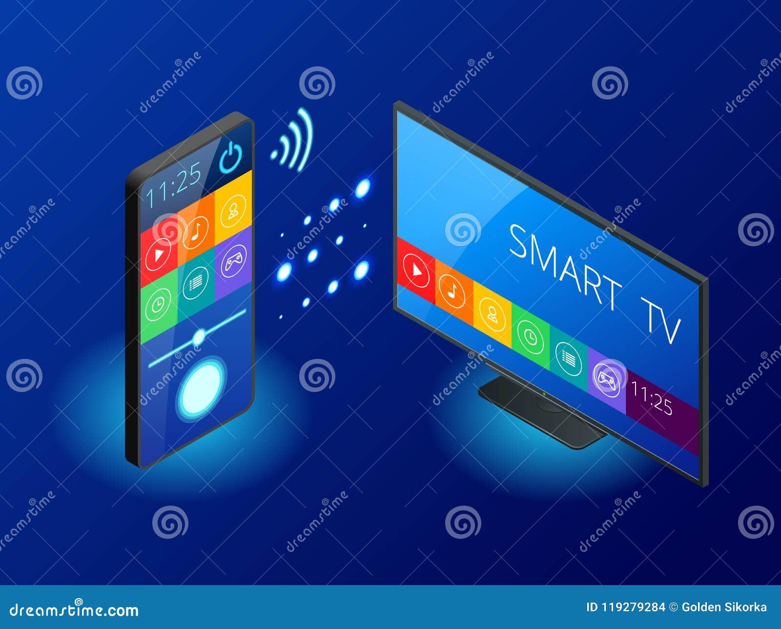 Isometrische Slimme TV wordt gecontroleerd door een smartphone, doorgeeft informatie via de wolk Slimme TV-interface app Vector