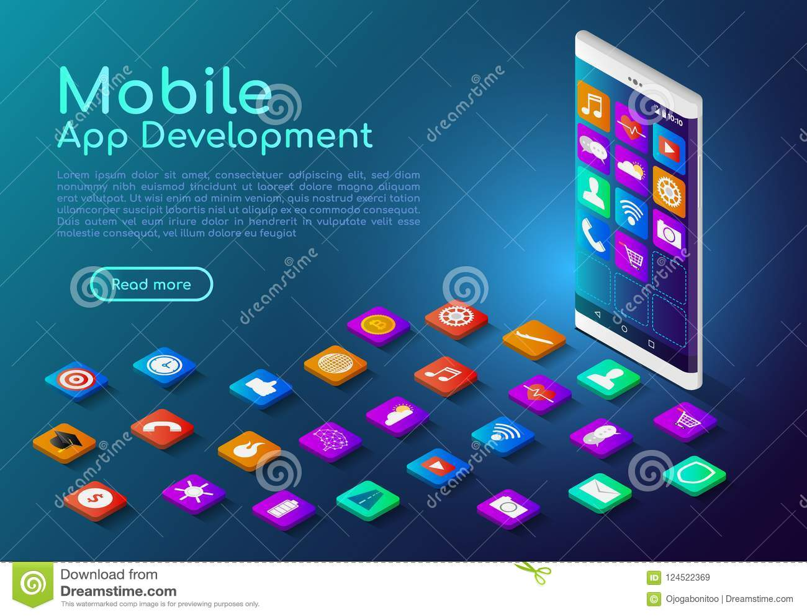 Isometrische smartphone van de Webbanner met mobiel app pictogram