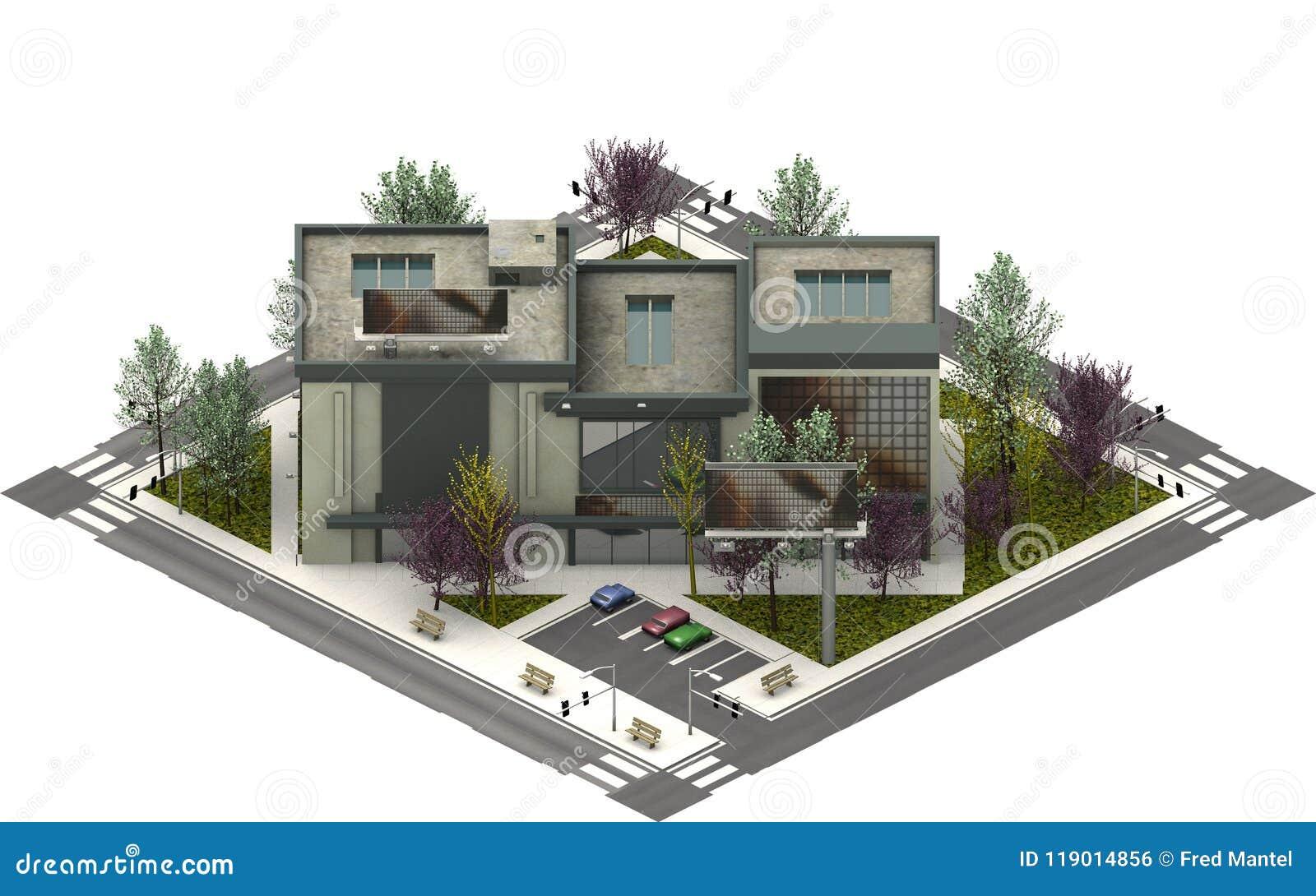 Isometrische stadsgebouwen, luxeflats het 3d teruggeven