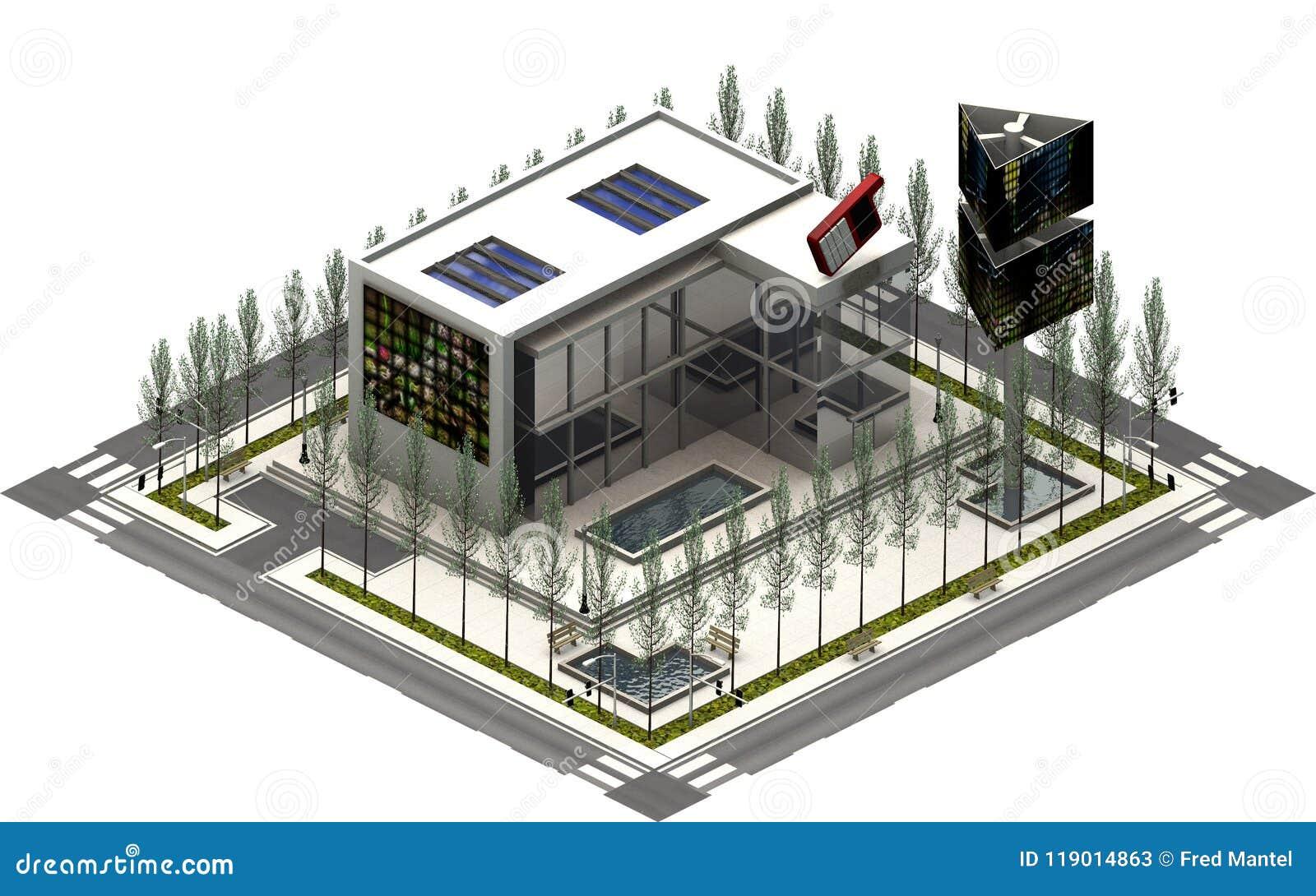 Isometrische stadsgebouwen, TV-filmbedrijf het 3d teruggeven