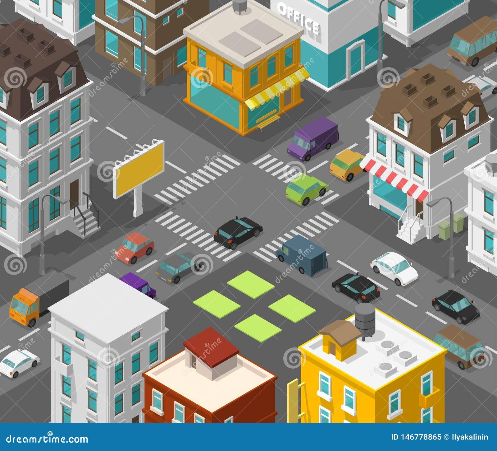Isometrische Stadt Stadtbezirksstra?e Werbungsanschlagtafel auf dem Straße Schnittzebrastreifen Detail-Stadtprojektion des Vektor