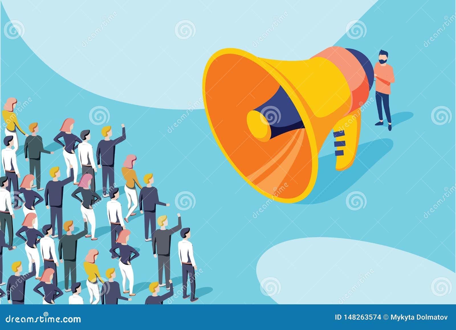 Isometrische vector van een zakenman of politicus die met megafoon tot een aankondiging een maken aan een menigte van mensen