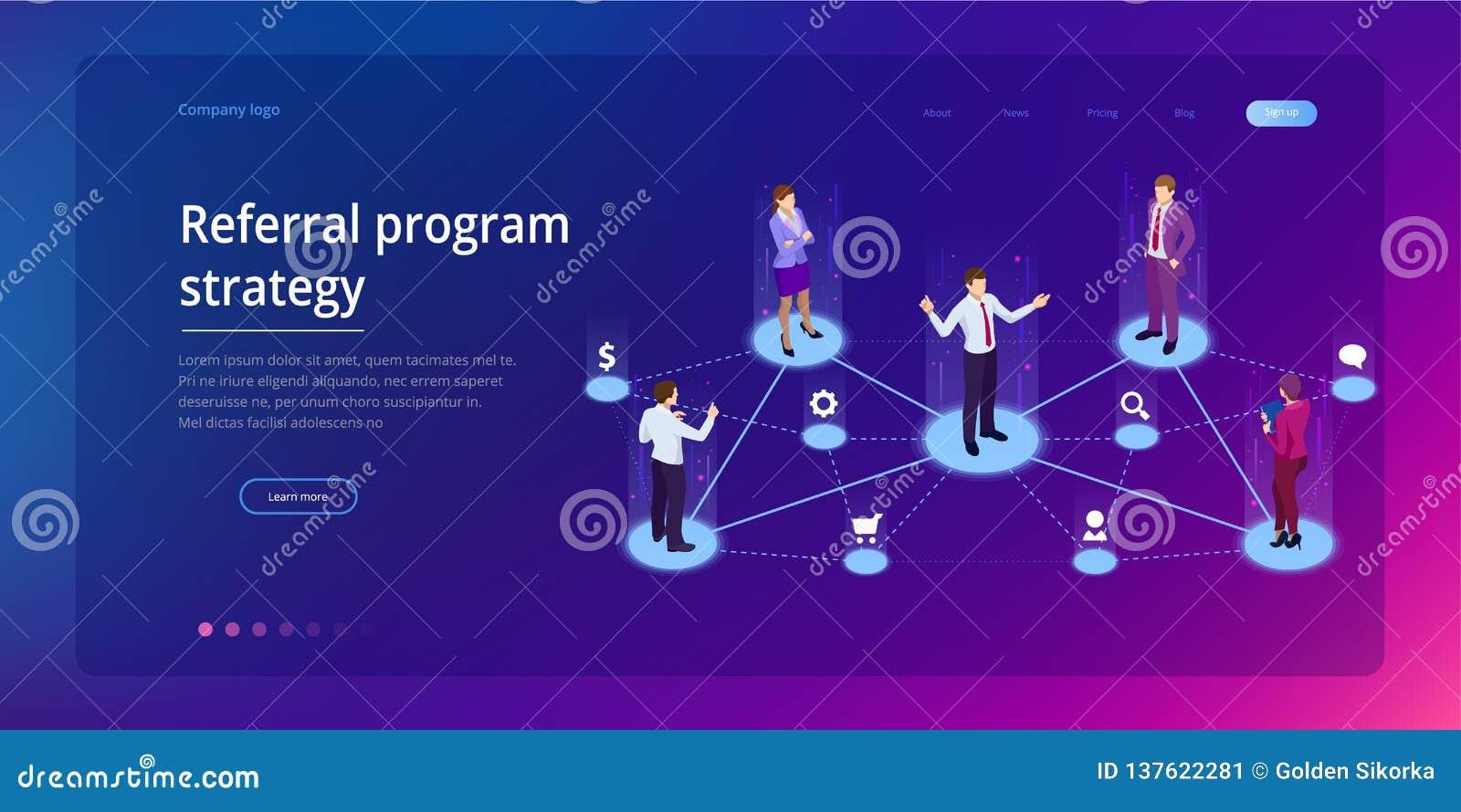 Isometrische Verwijzing marketing, netwerk marketing die, de strategie van het verwijzingsprogramma, vrienden, bedrijfsvennootsch