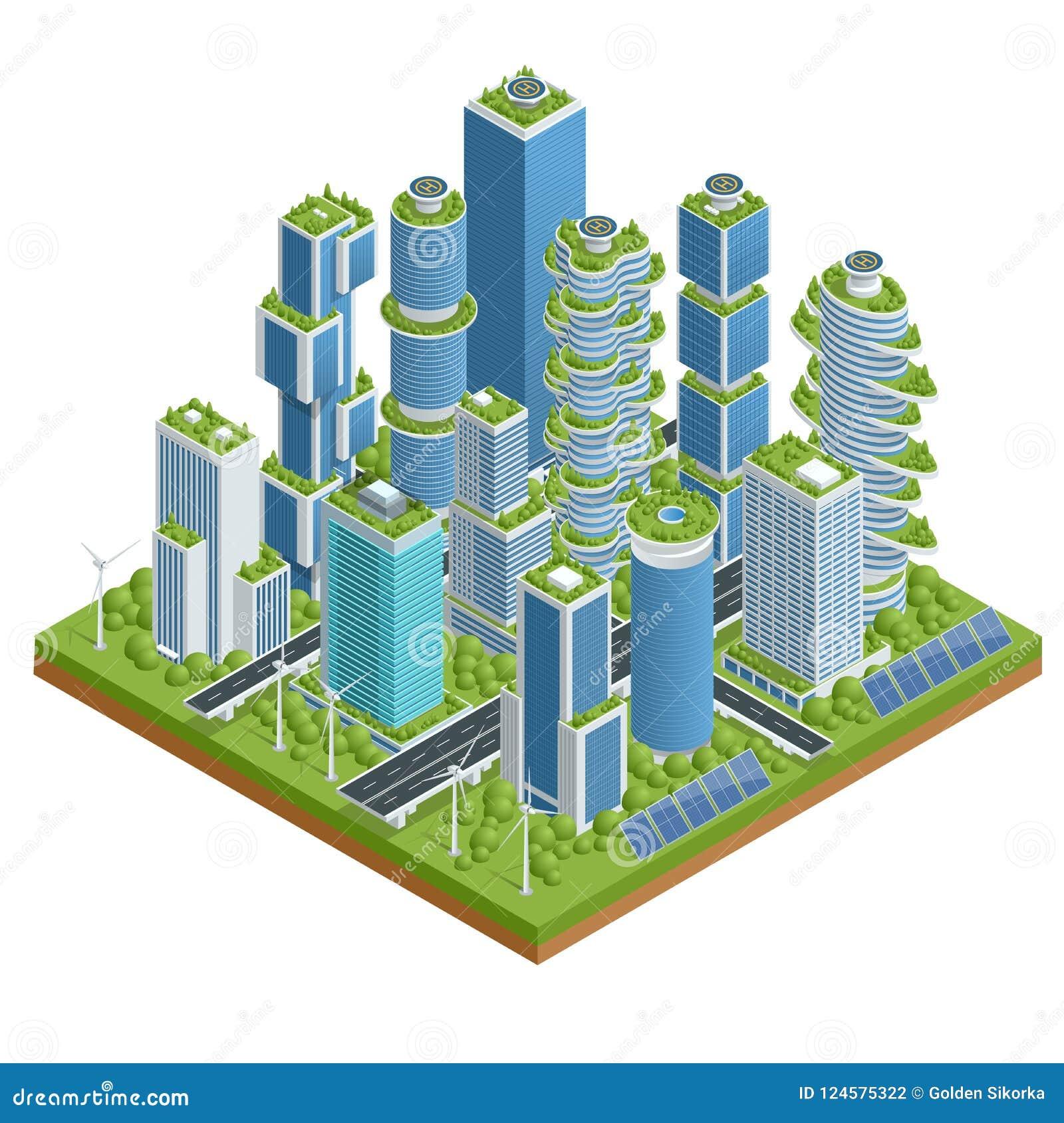 Isometrische vlakke eco-Architectuur De groene wolkenkrabberbouw met installaties die op de voorgevel groeien Ecologie en het gro