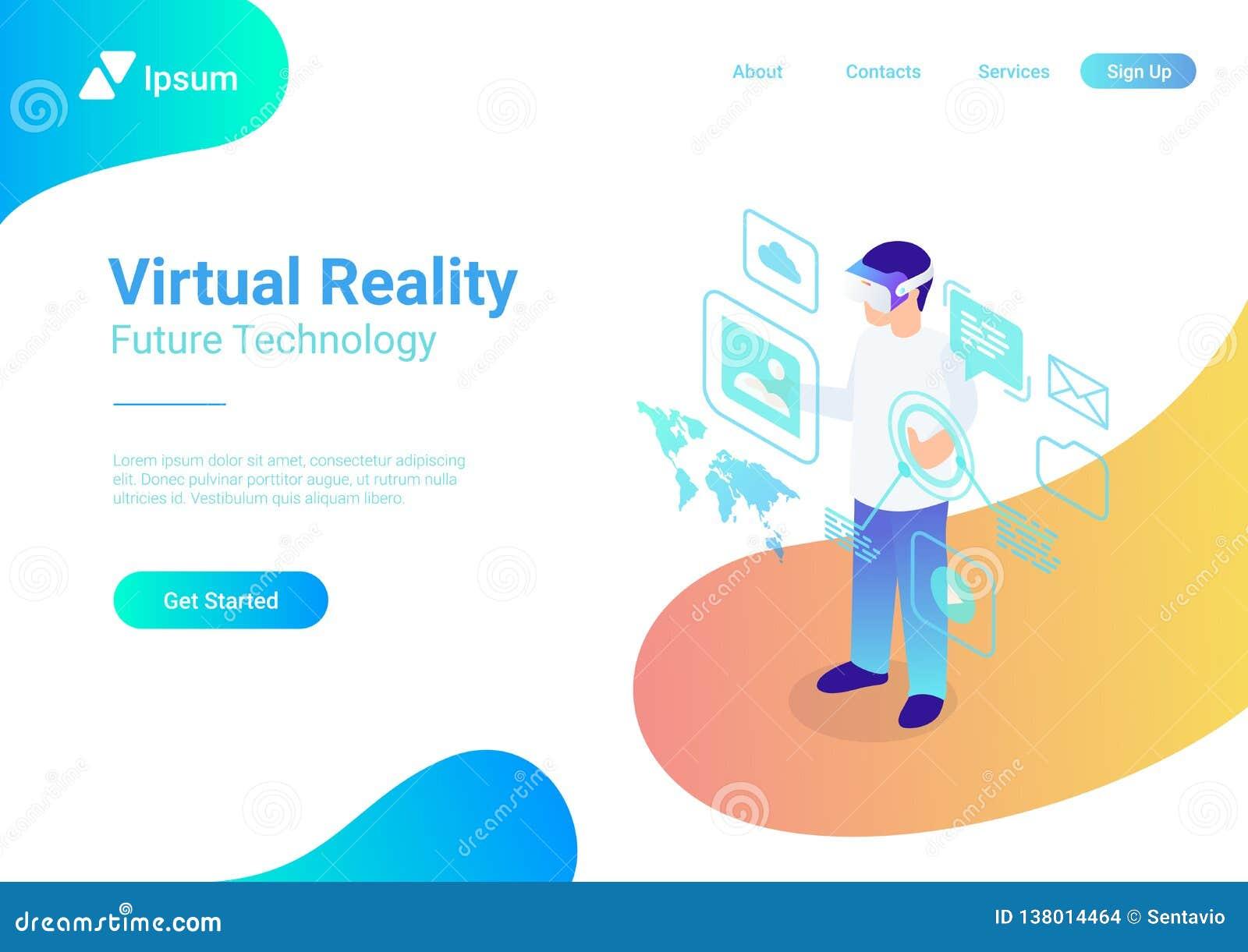 Isometrische vlakke VR-glazen v van de helm Virtuele Werkelijkheid
