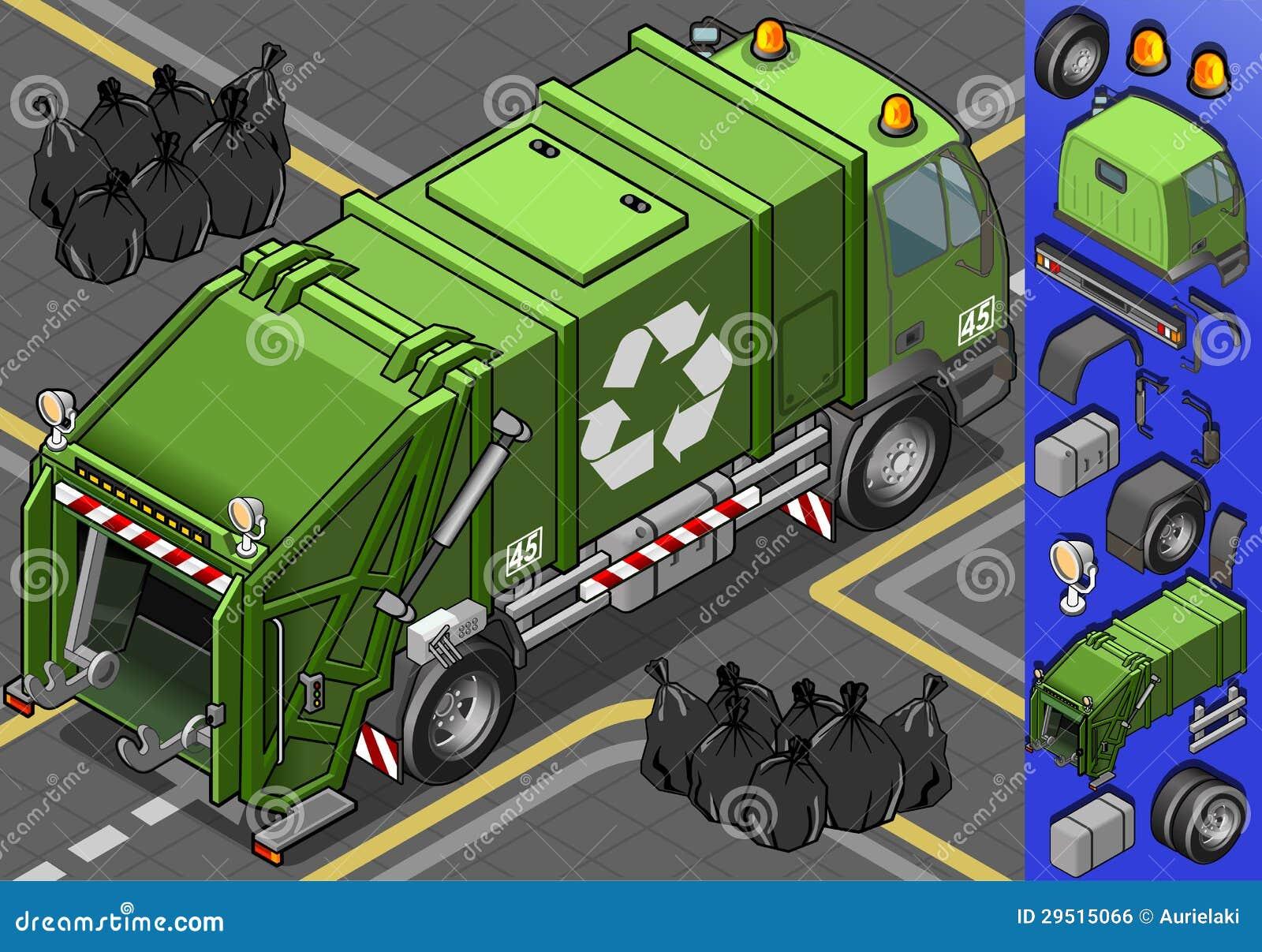 Isometrische vuilnisauto