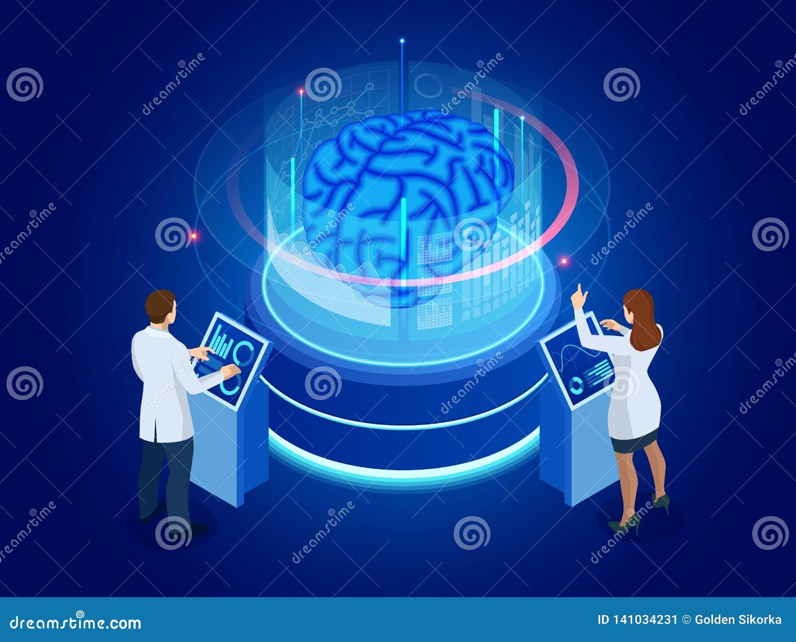Isometrische wetenschappelijke ontwikkeling van Kunstmatige intelligentieconcept Elektrische hersenen Laboratorium die hersenen o