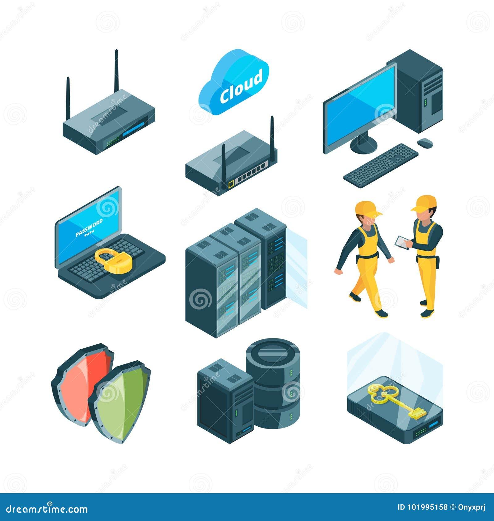 Isometrischer Ikonensatz verschiedene elektronische Systeme für datacenter