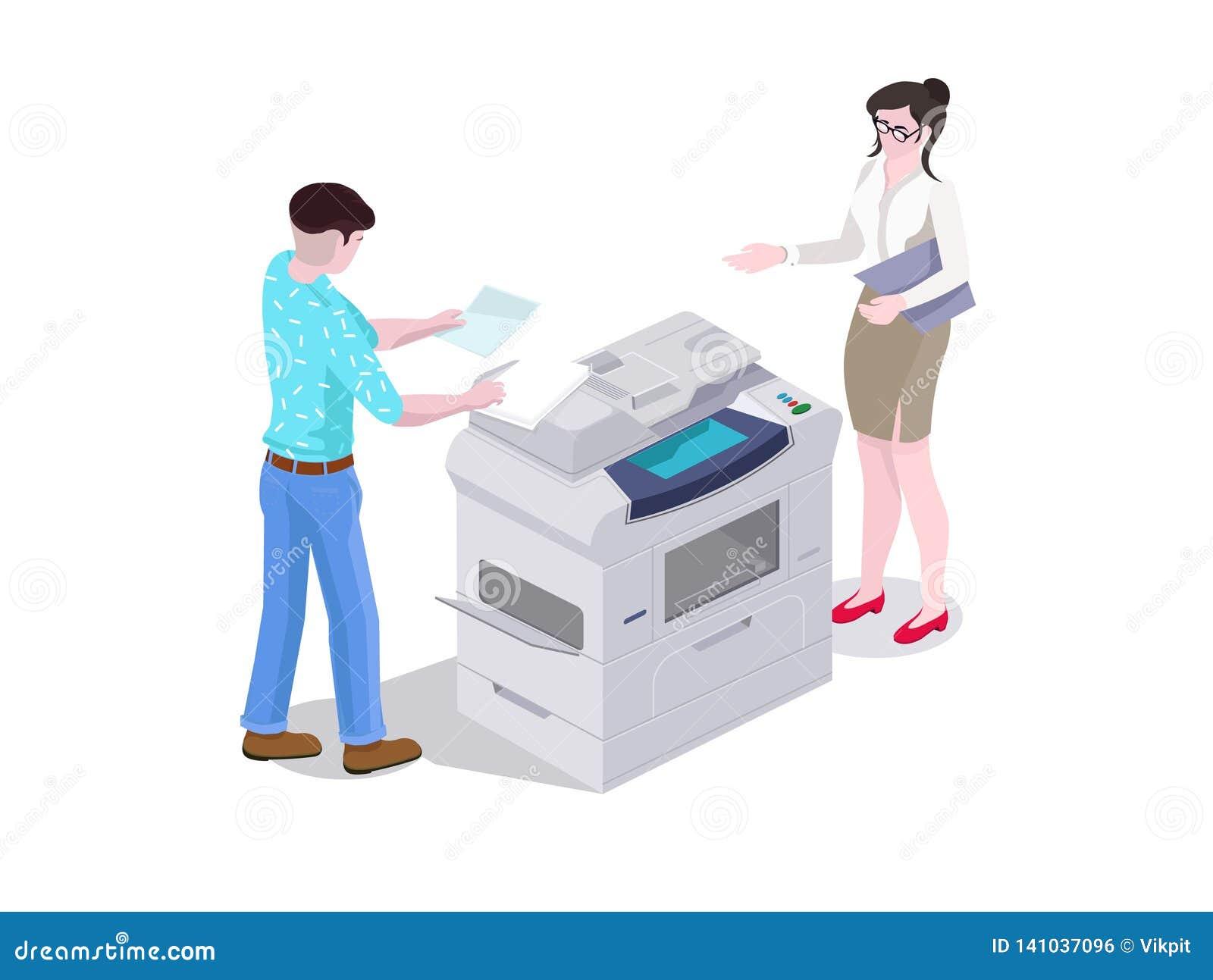 Isometrischer Mann der Zusammensetzung 3d und eine Frau im Bürodruck und die Dateien auf dem Drucker kopieren