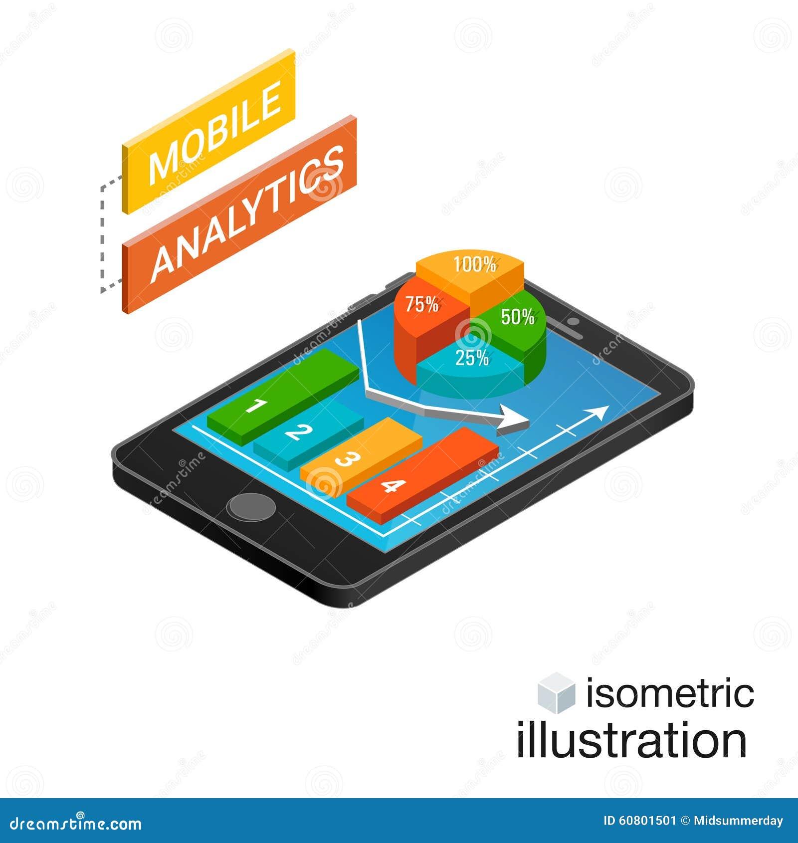 Isometrischer Smartphone mit Diagrammen auf einem weißen Hintergrund Bewegliches Analytikkonzept Isometrische Vektor-Illustration
