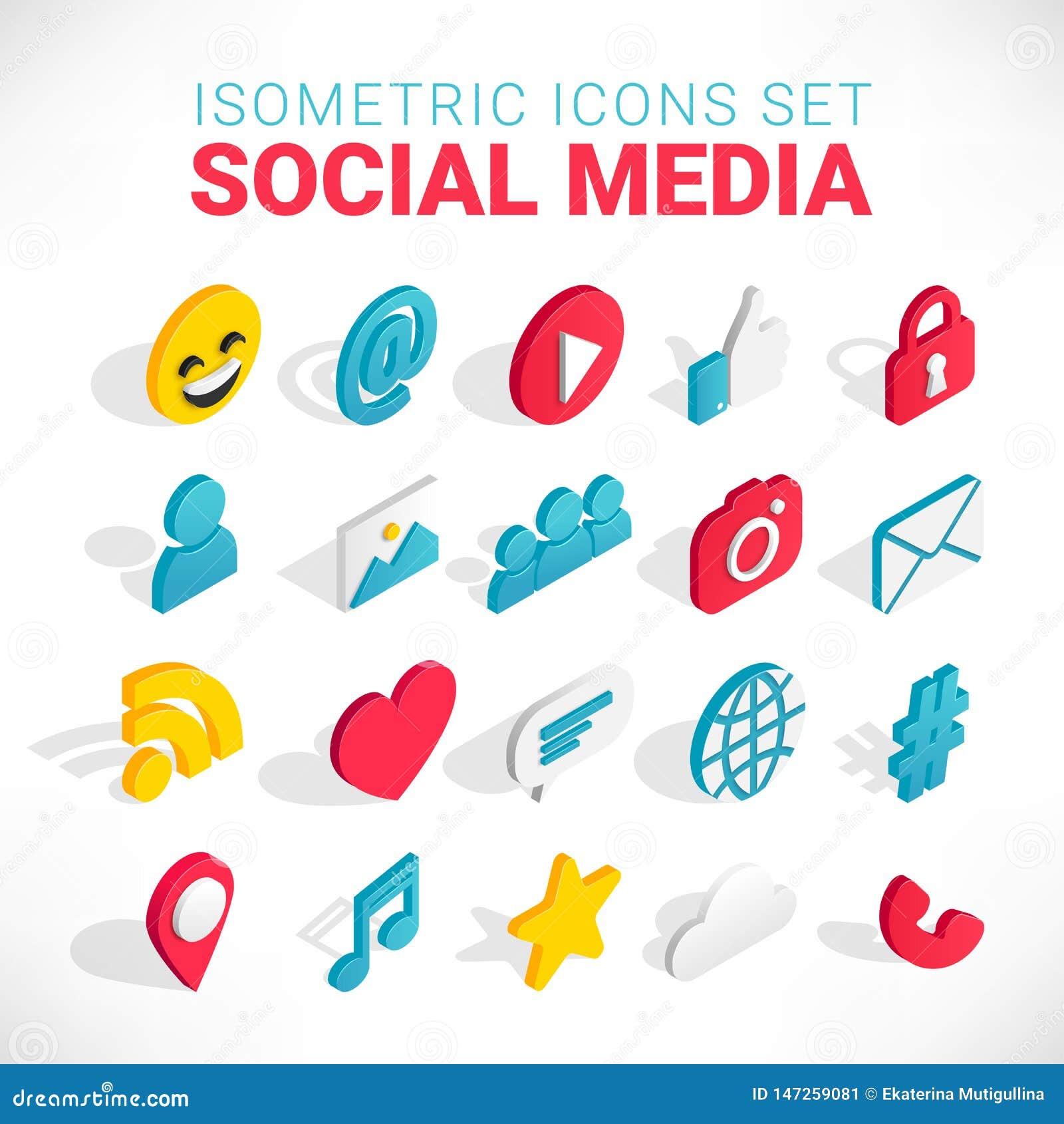 Isometrischer Social Media-Ikonensatz