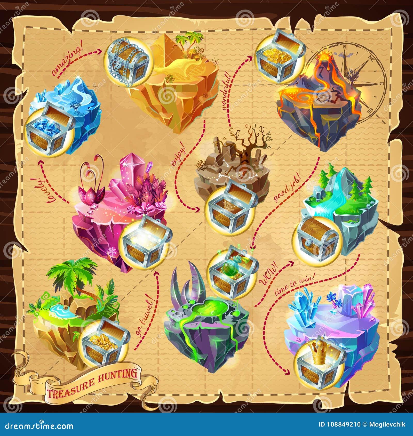 Isometrischer Spiel-Niveau-Karten-Hintergrund