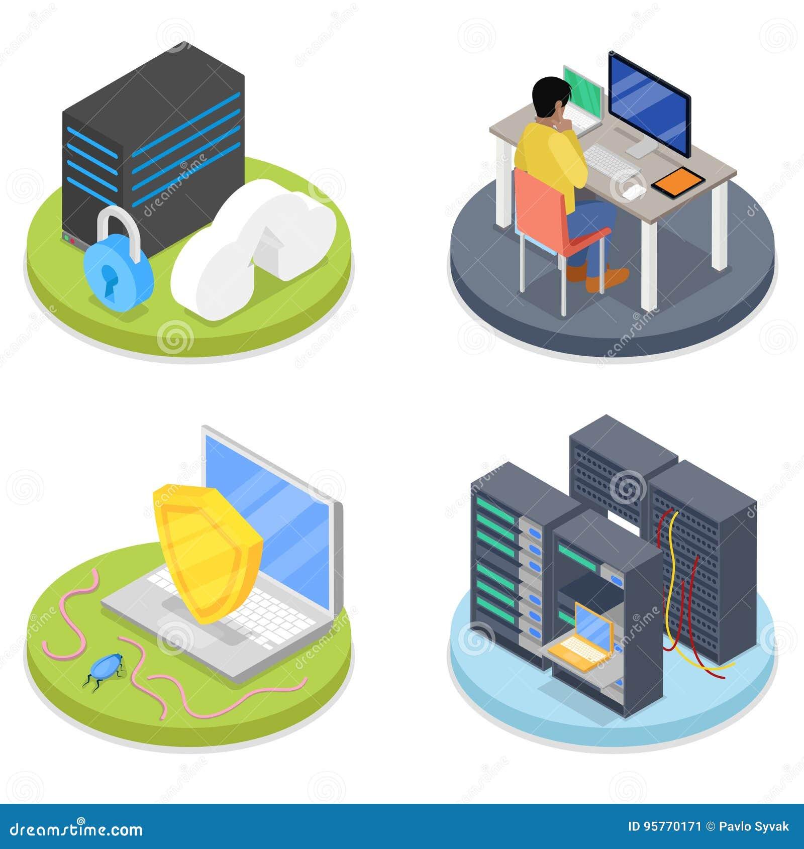 Isometrischer Systemverwalter Serverraum Laptop Und CAB-Datei Mit ...