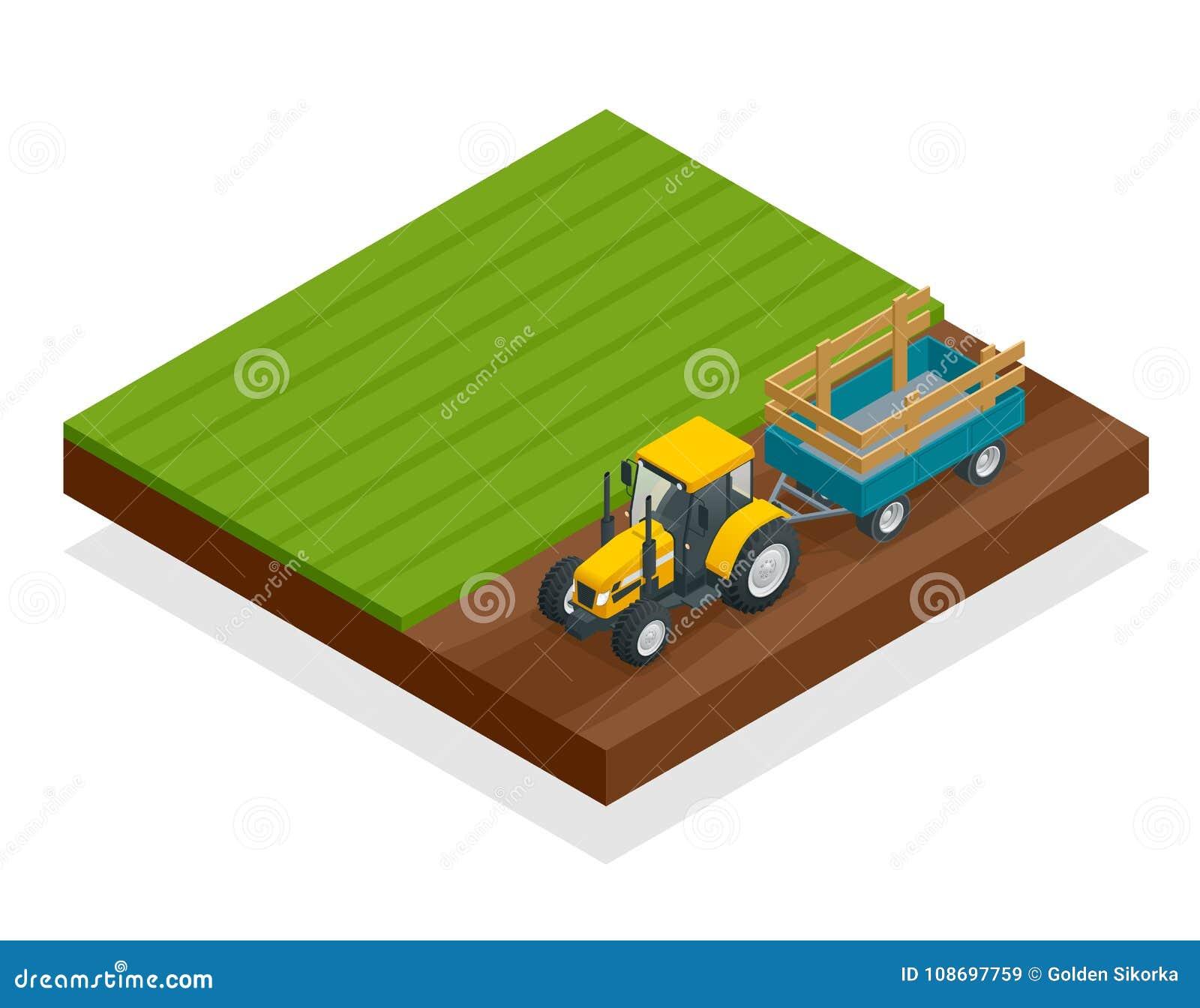 Isometrischer Traktor funktioniert auf einem Gebiet Landwirtschaftsmaschinerie Pflügen auf dem Gebiet Schwere landwirtschaftliche