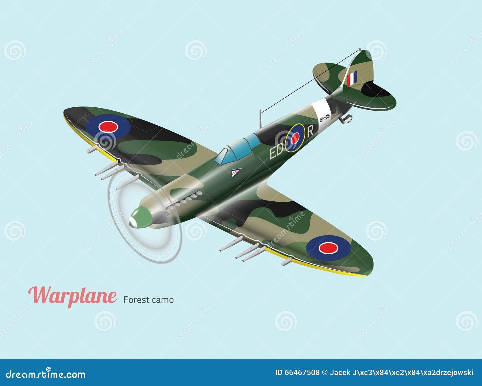 Isometrischer Vektor des britischen Kampfflugzeugs des Weltkriegs in der grünen Tarnung