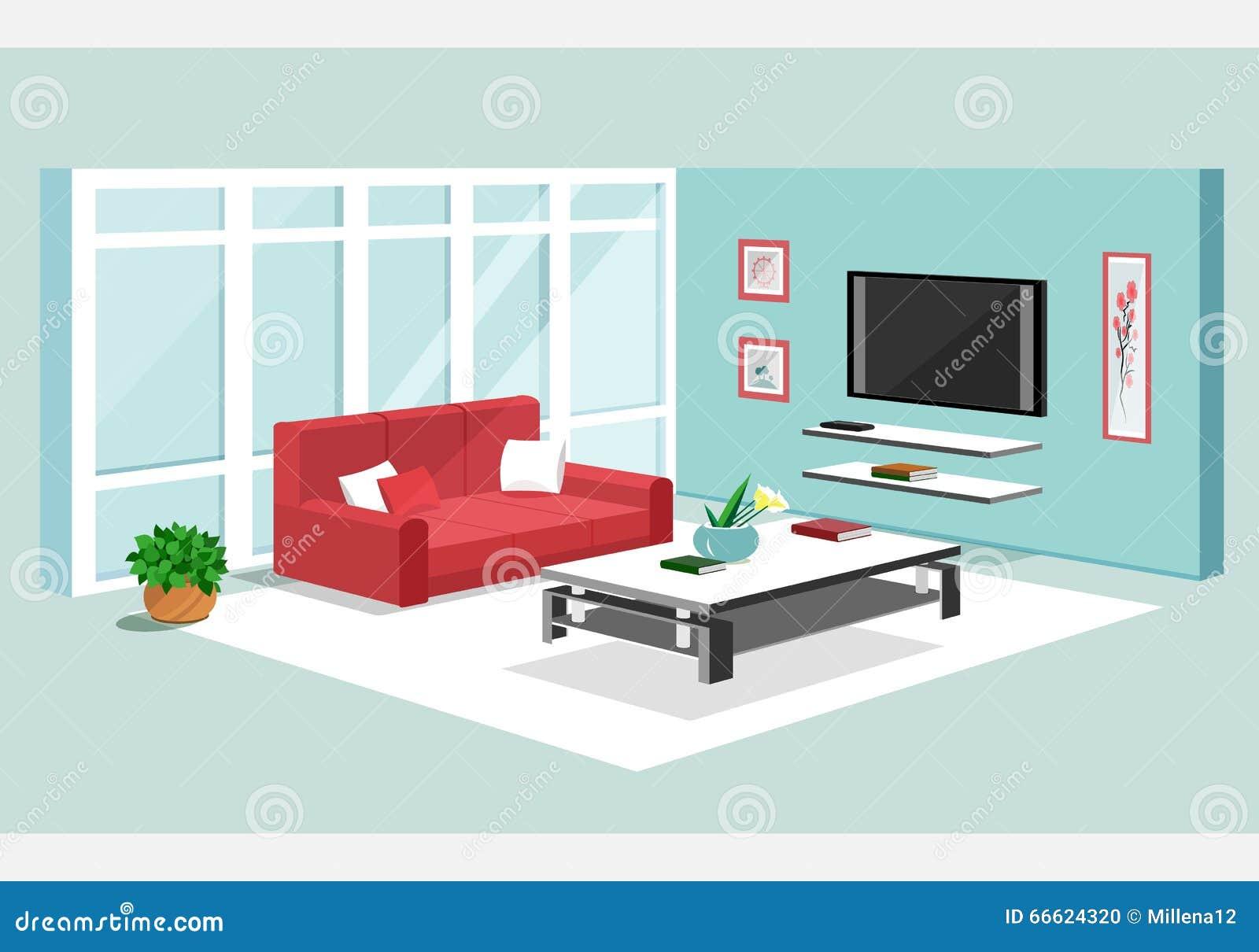 Isometrisches Design 3d der Wohnung Vektorillustration des modernen isometrischen Wohnzimmerinnenraums