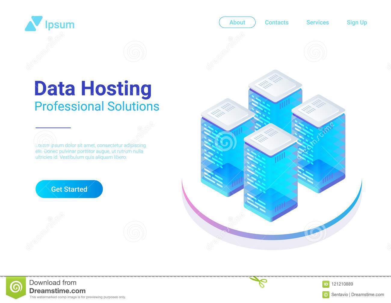 Isometrisches flaches Daten-Hosting-Servervektor illustr