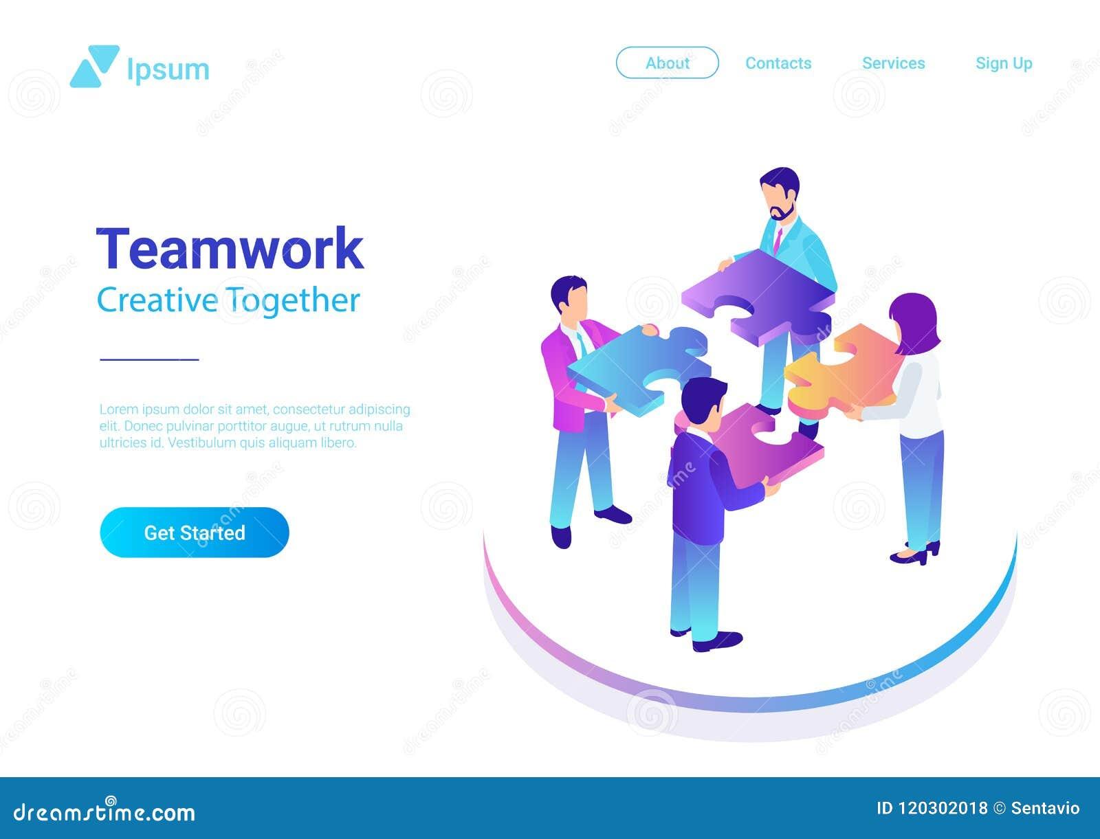 Isometrisches flaches Vektor Management-Teamwork-Geschäft