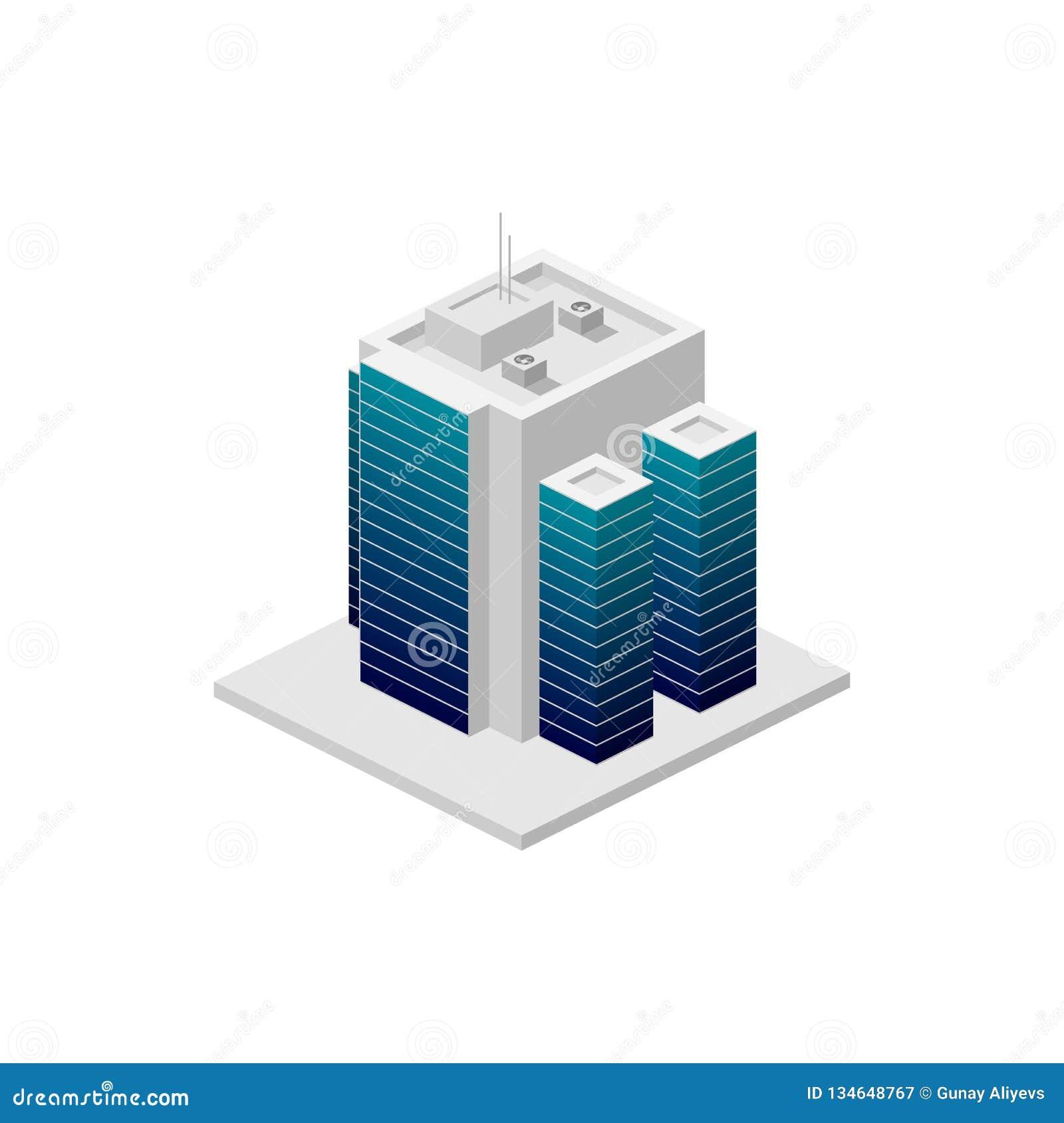 Isometrisches Gebäude Element der Farbgebäudeikone für mobile Konzept und Netz Apps Ausführliche isometrische errichtende Ikone k