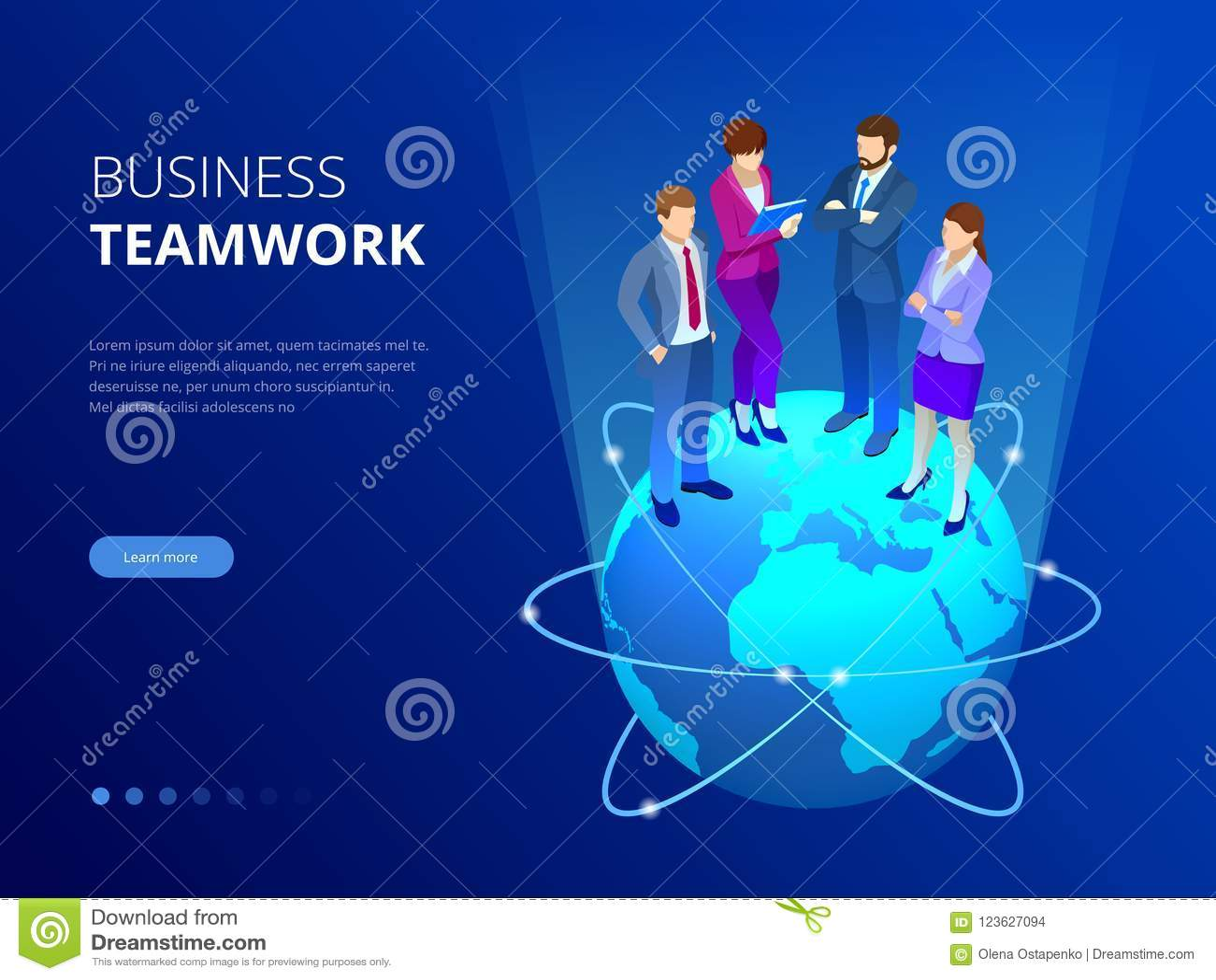 Isometrisches Geschäftsteam, Geschäftsleute Konzept Abbildung im Vektor Geschäftsleute stehen auf einer Weltkugel Neue Ideen