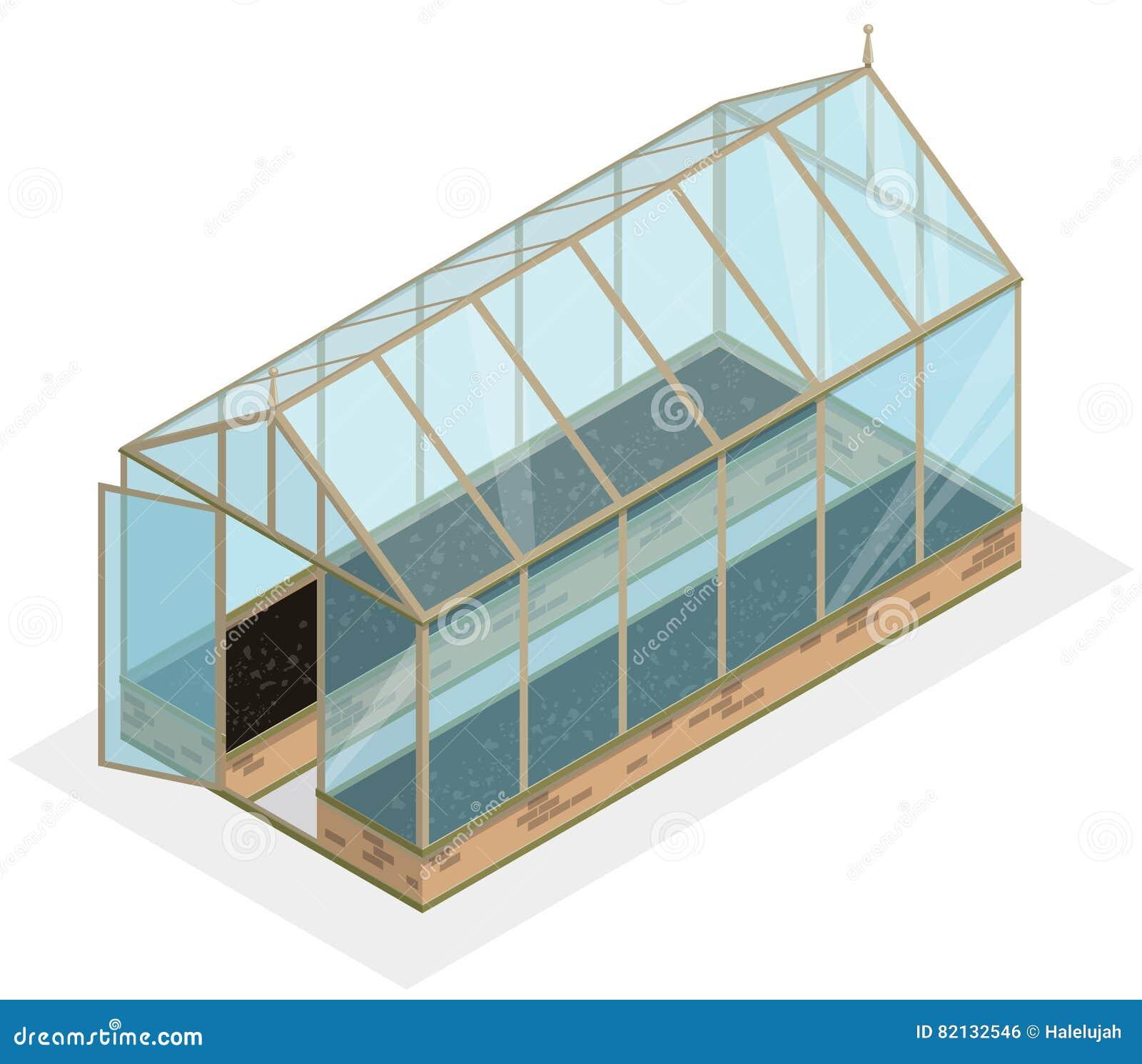 Isometrisches Gewächshaus Mit Glaswänden Grundlagen Giebeldach