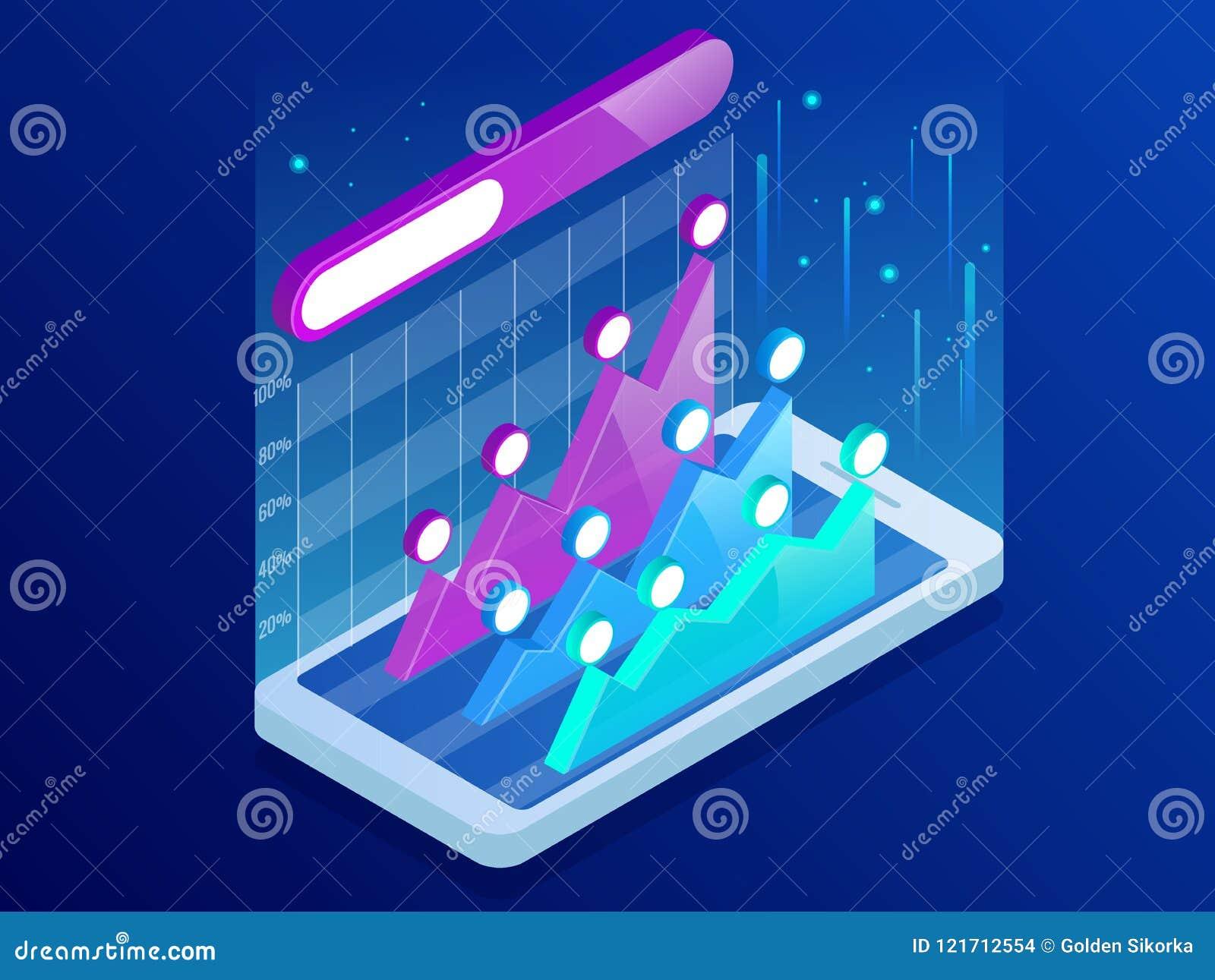 Isometrisches infographics innerhalb des Smartphone, GeschäftsTrendanalyse auf Smartphoneschirm mit Diagrammen, Perspektive markt