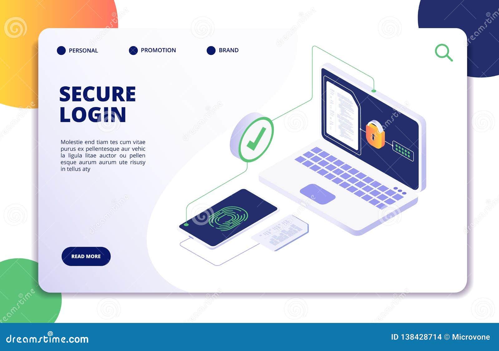 Isometrisches Konzept der Authentisierung Passwort, LOGON-Ermächtigungsfingerabdruckzugang Datensafe und Schutzlandung