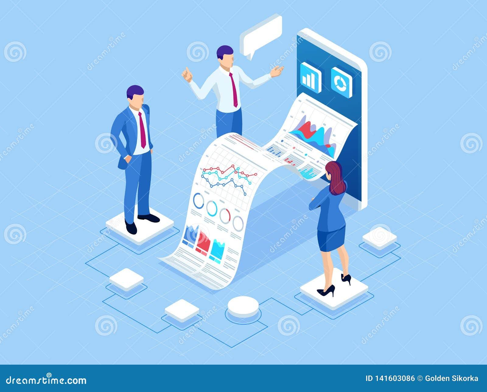 Isometrisches Konzept der Unternehmensanalyse, Analytics, Forschung, Strategiestatistik, Planung, Marketing, Studie von