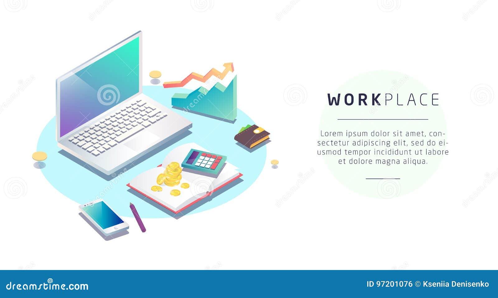 Isometrisches Konzept des Arbeitsplatzes mit Computer und Büroeinrichtung