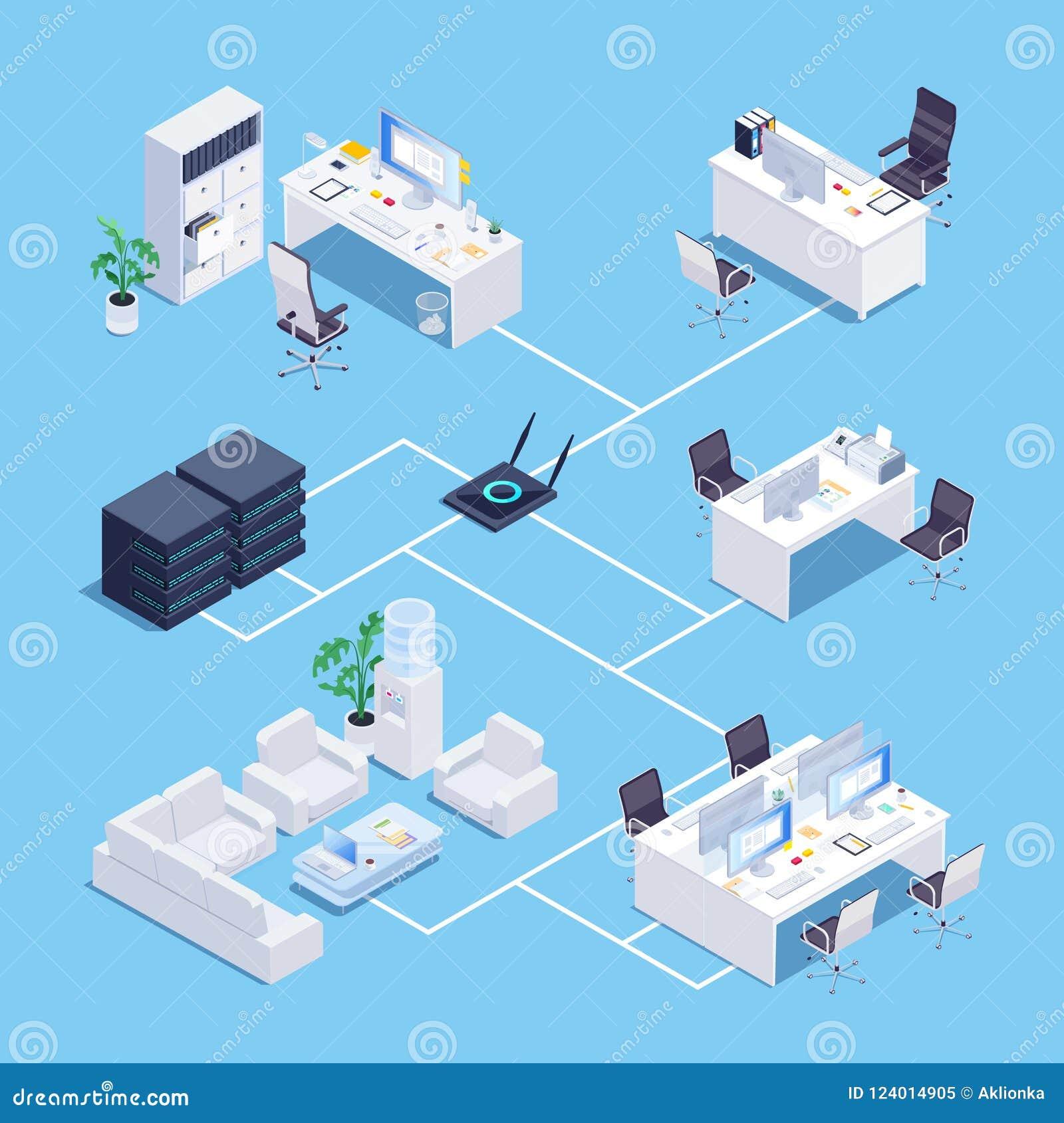 Isometrisches Konzept des lokalen Netzwerkes (LAN) im Büro