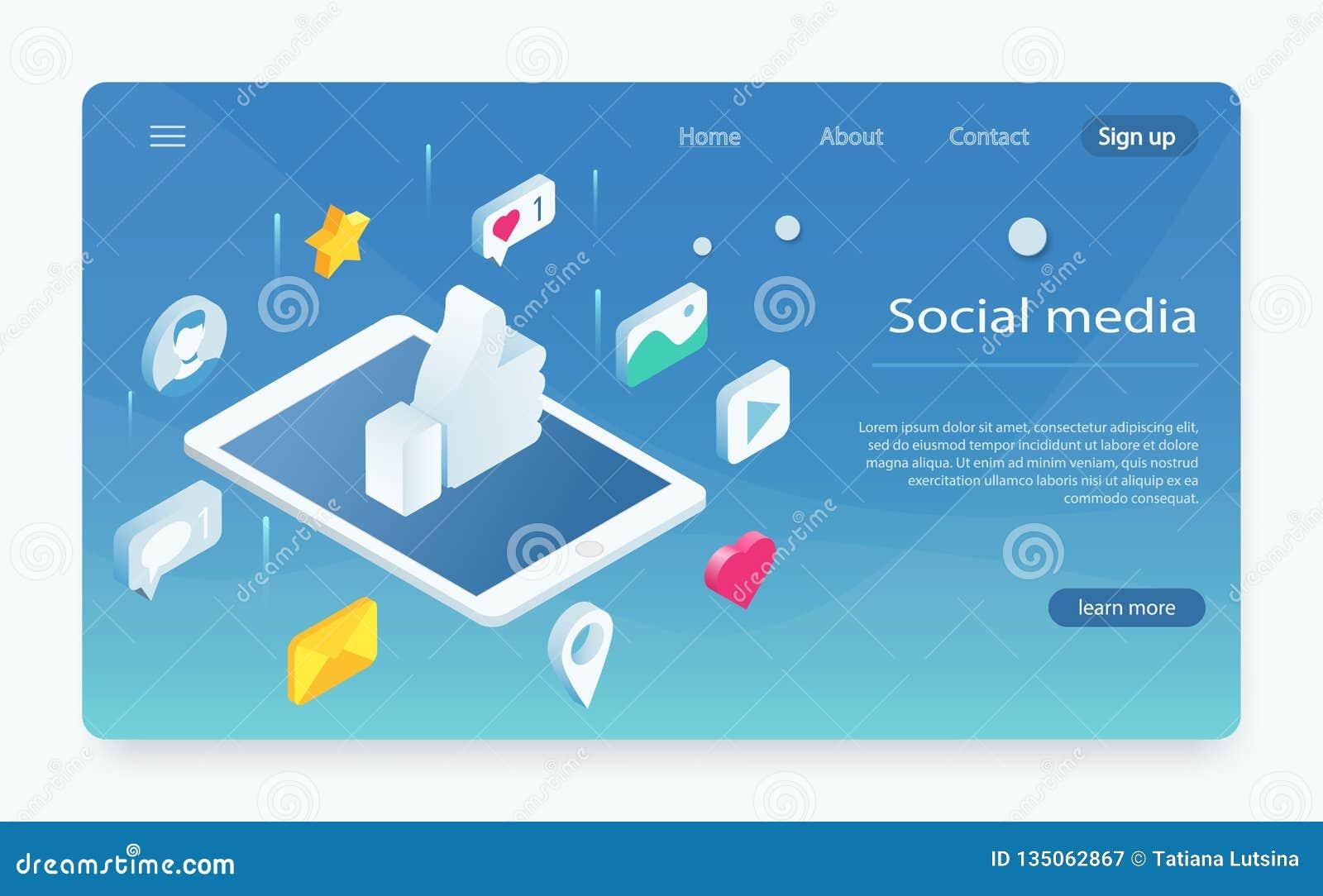 Isometrisches Konzept mit Handy und Chat Soziales Netz mögen Ikone