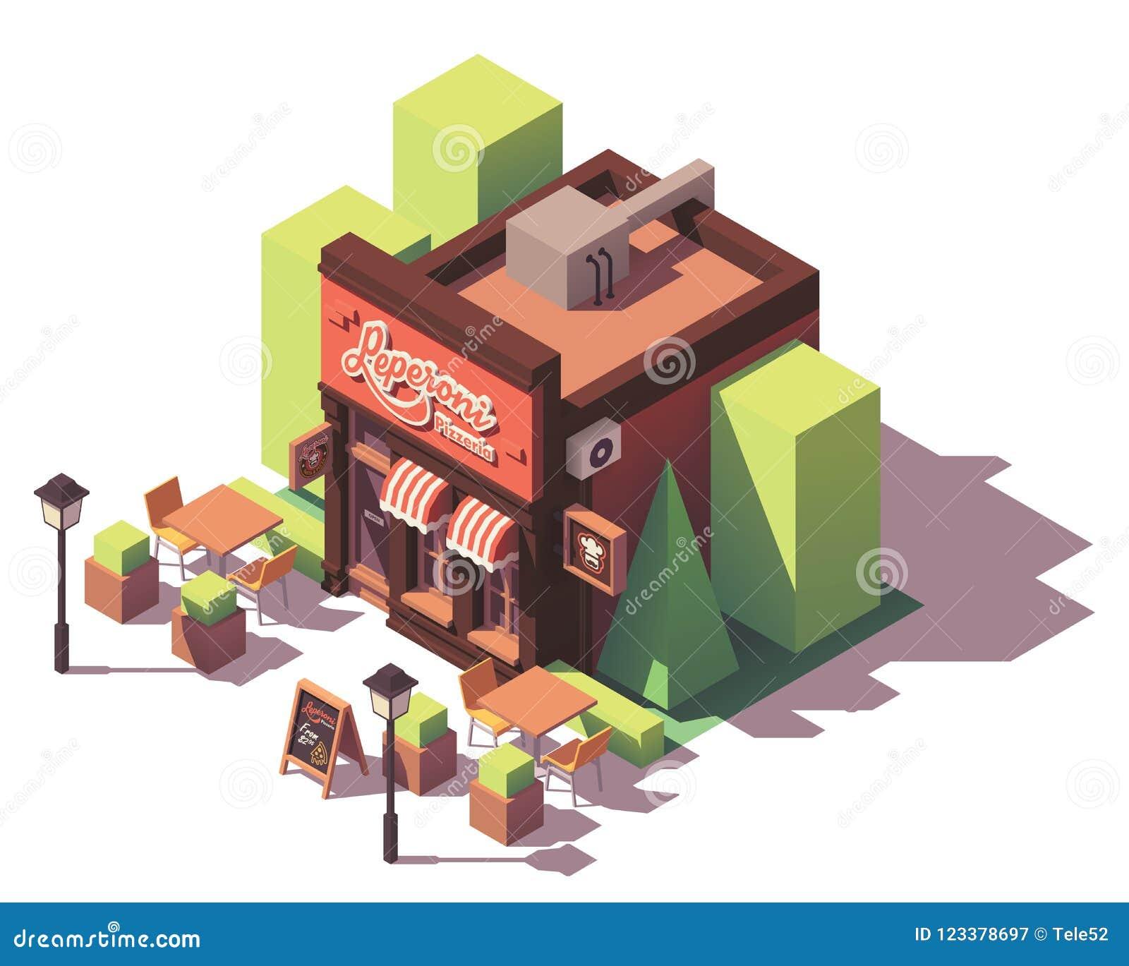 Isometrisches Pizzeriagebäude des Vektors