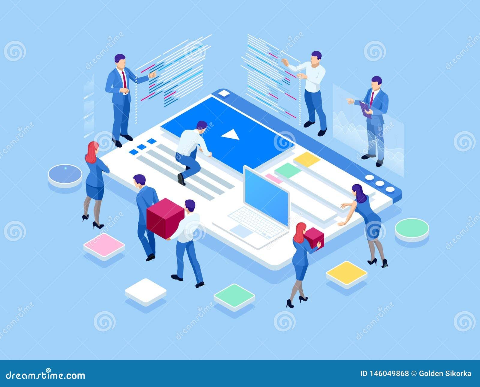 Isometrisches SEO-Analytics-Teamkonzept Inhaltsschaffungsspezialisten- und -artikelverfasser Schreiben des Services, IT-Fachmänne