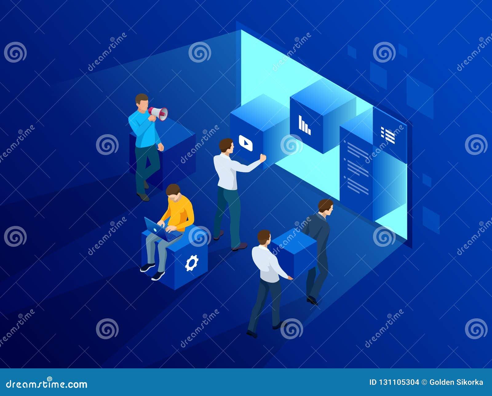 Isometrisches Standortschaffungskonzept Webseitenentwurf und Entwicklung, Leute arbeiten an der Schaffung einer Website, Anwendun
