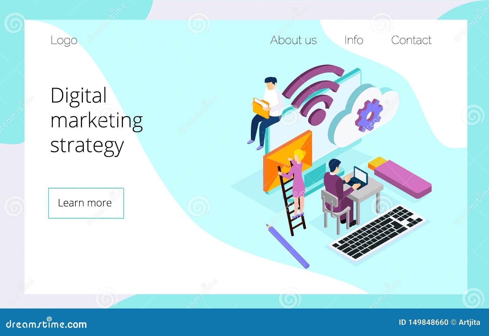 Isometrisches Team von den Spezialisten, die an Landungsseite der digitalen Marketingstrategie arbeiten