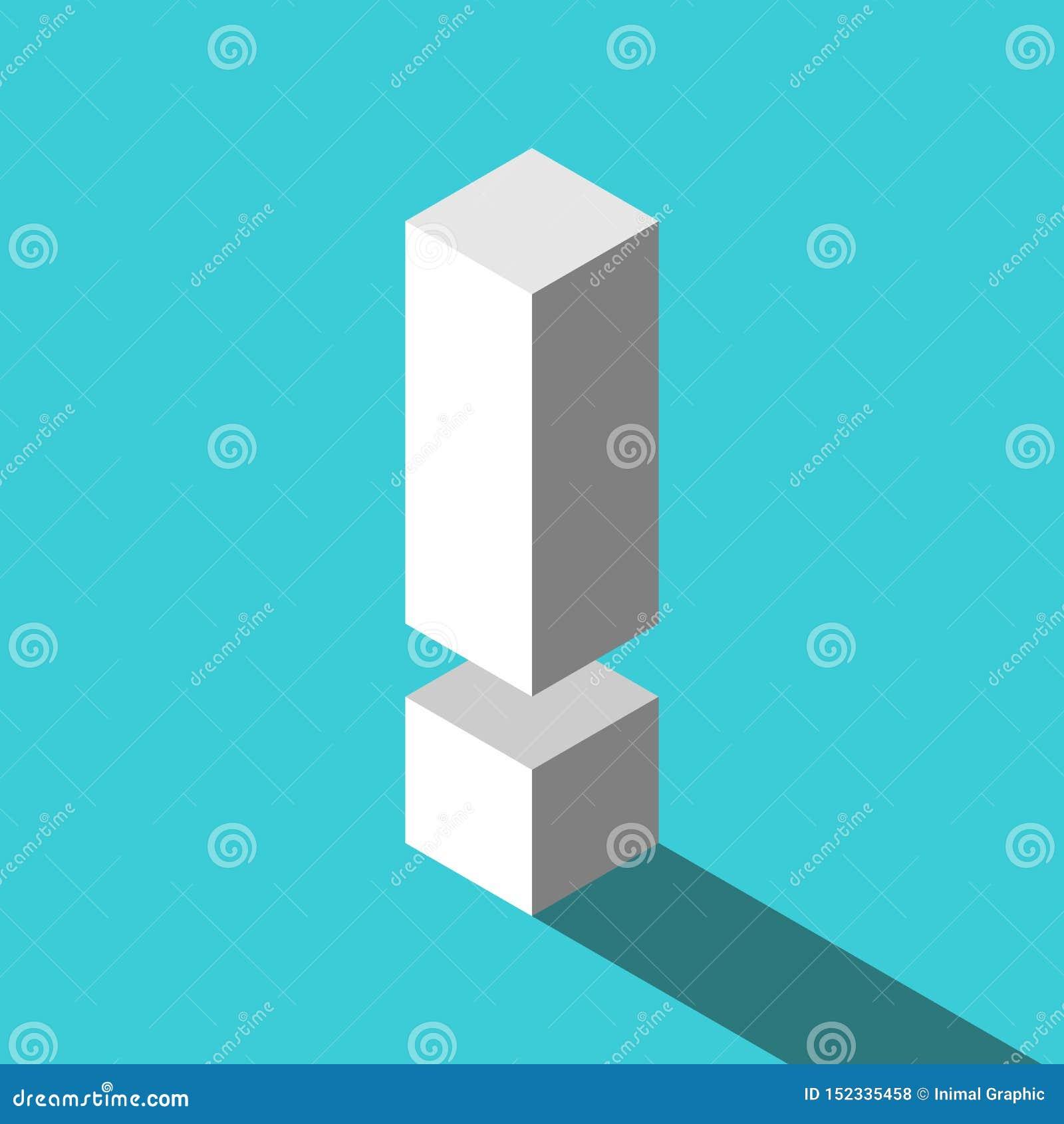 Isometrisches weißes Ausrufezeichen