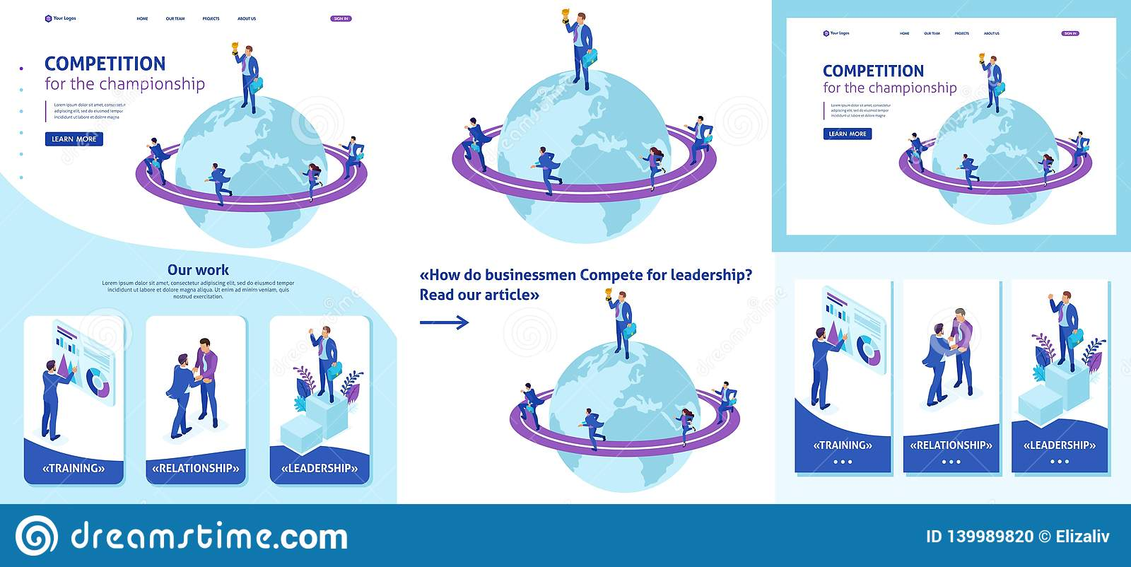 Isometrisk affärsman Top av världen, ledarskap