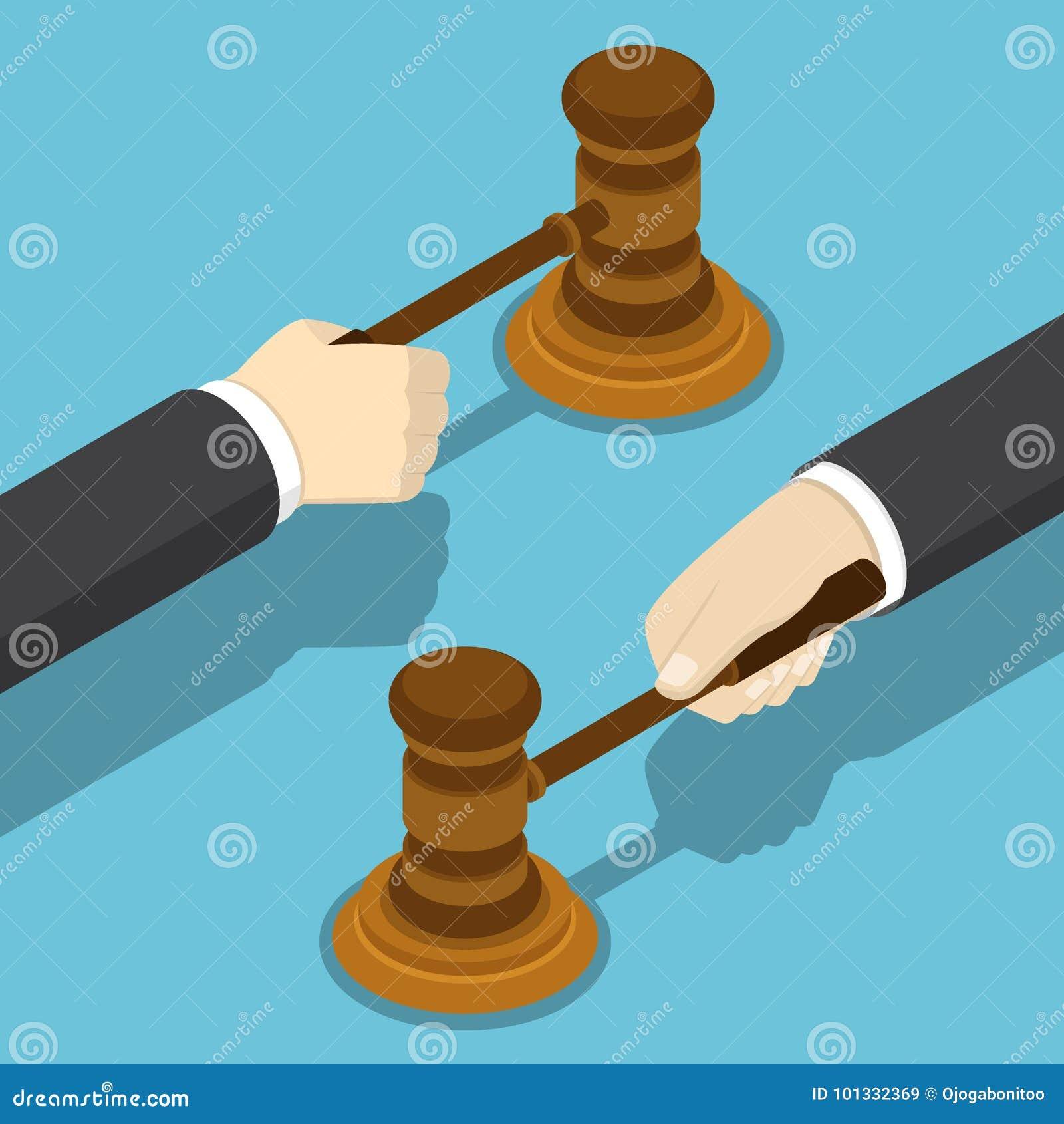 Isometrisk affärsmanhand med domareauktionsklubban