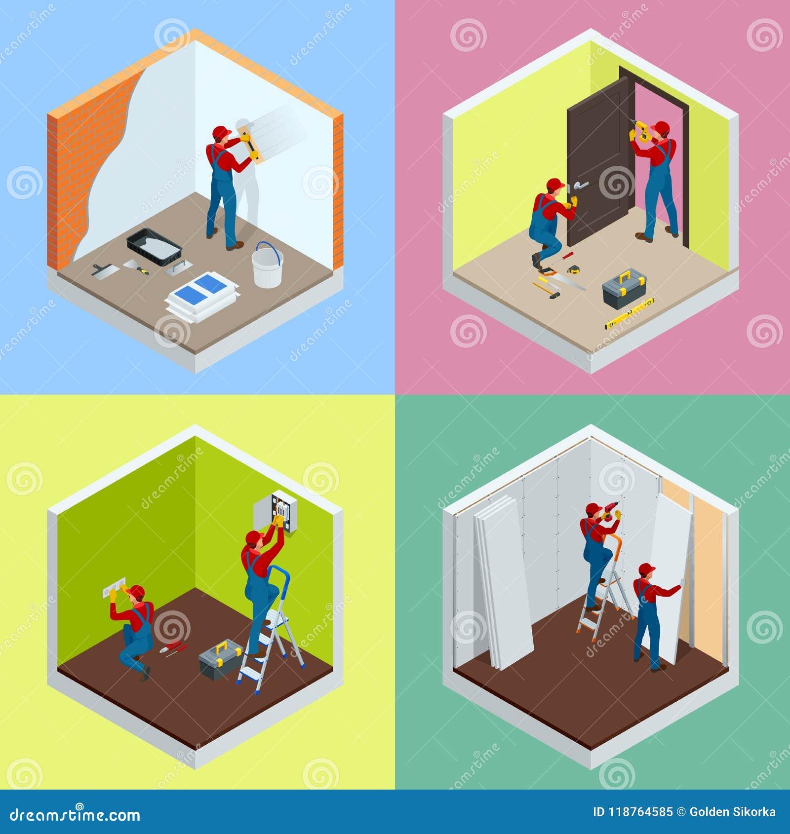 Isometrisk begreppsuppsättning för hem- reparation med arbetare, hjälpmedel, utrustning som isoleras på vit Byggnad, konstruktion